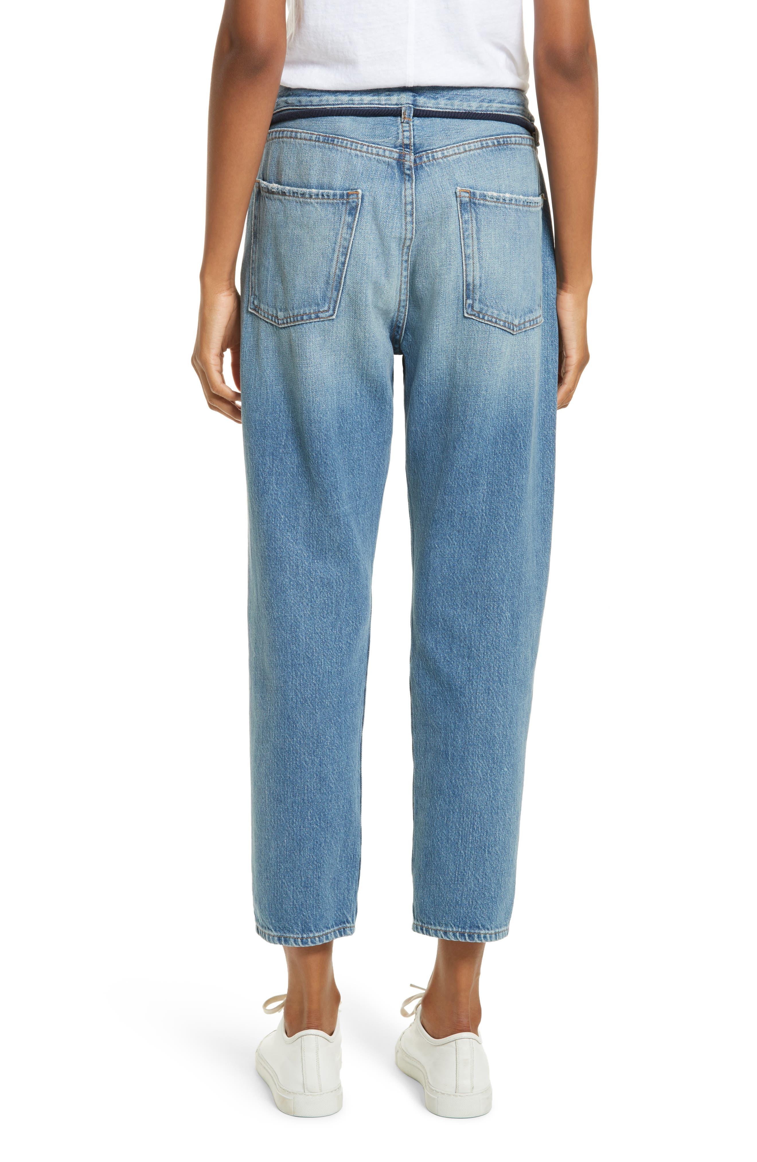 Le Original Tassel Tie High Waist Jeans,                             Alternate thumbnail 4, color,                             Bowman