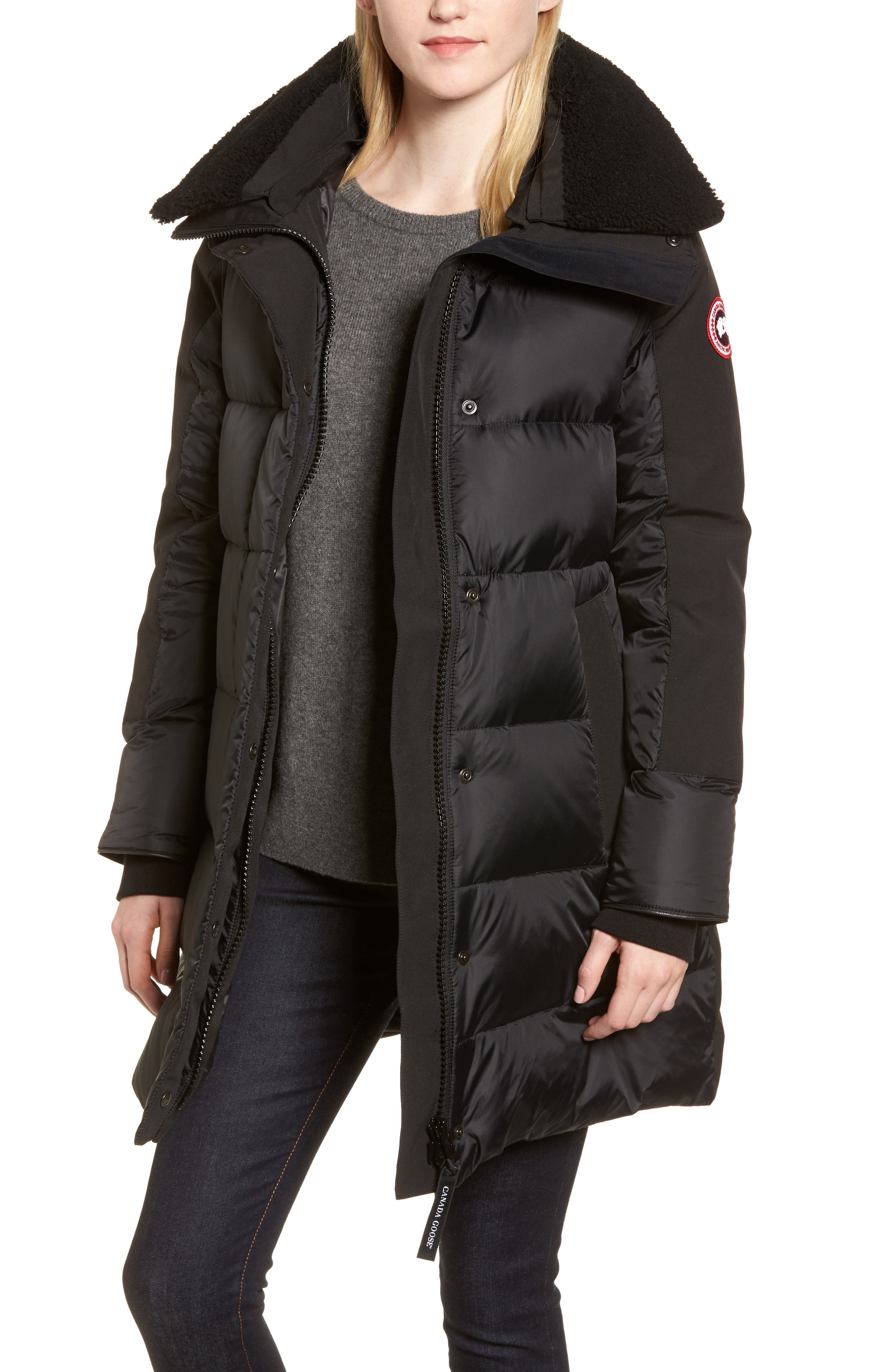 Altona Water Resistant 750-Fill Power Down Parka with Genuine Shearling Collar,                             Main thumbnail 1, color,                             Black