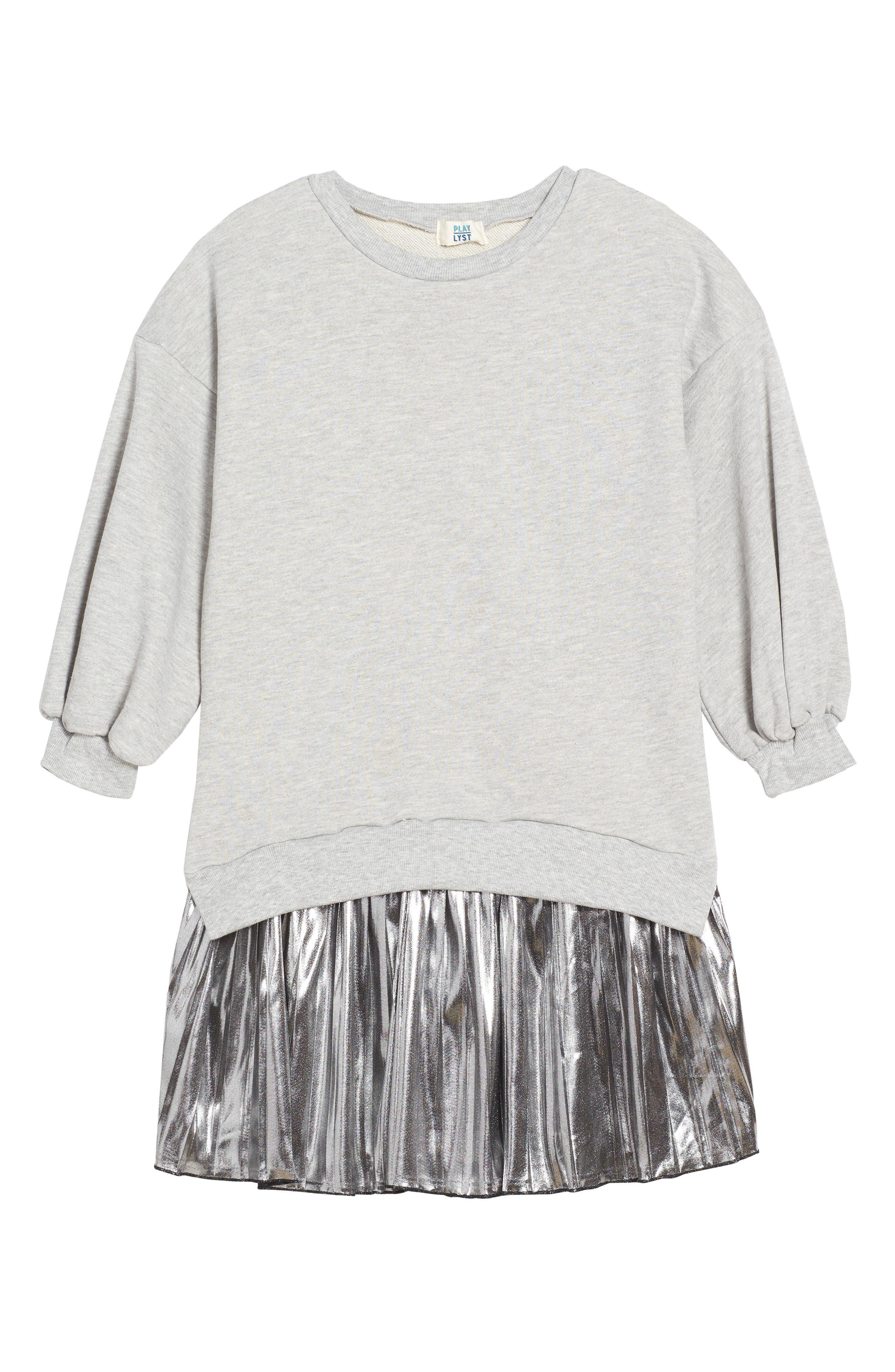 Metallic Sweatshirt Dress,                         Main,                         color, Grey