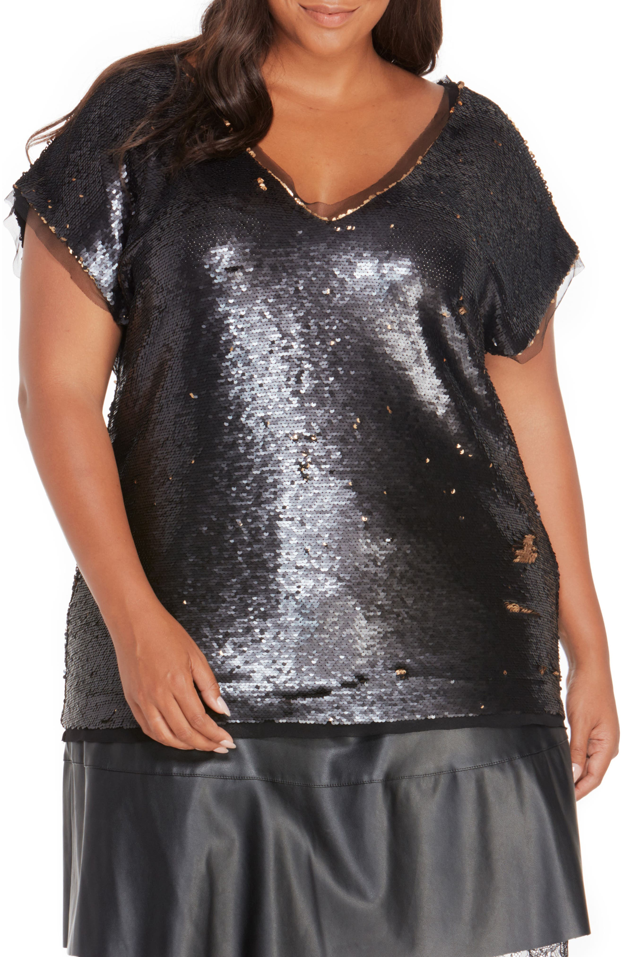 Sequin & Mesh Top,                         Main,                         color, Black/ Brass