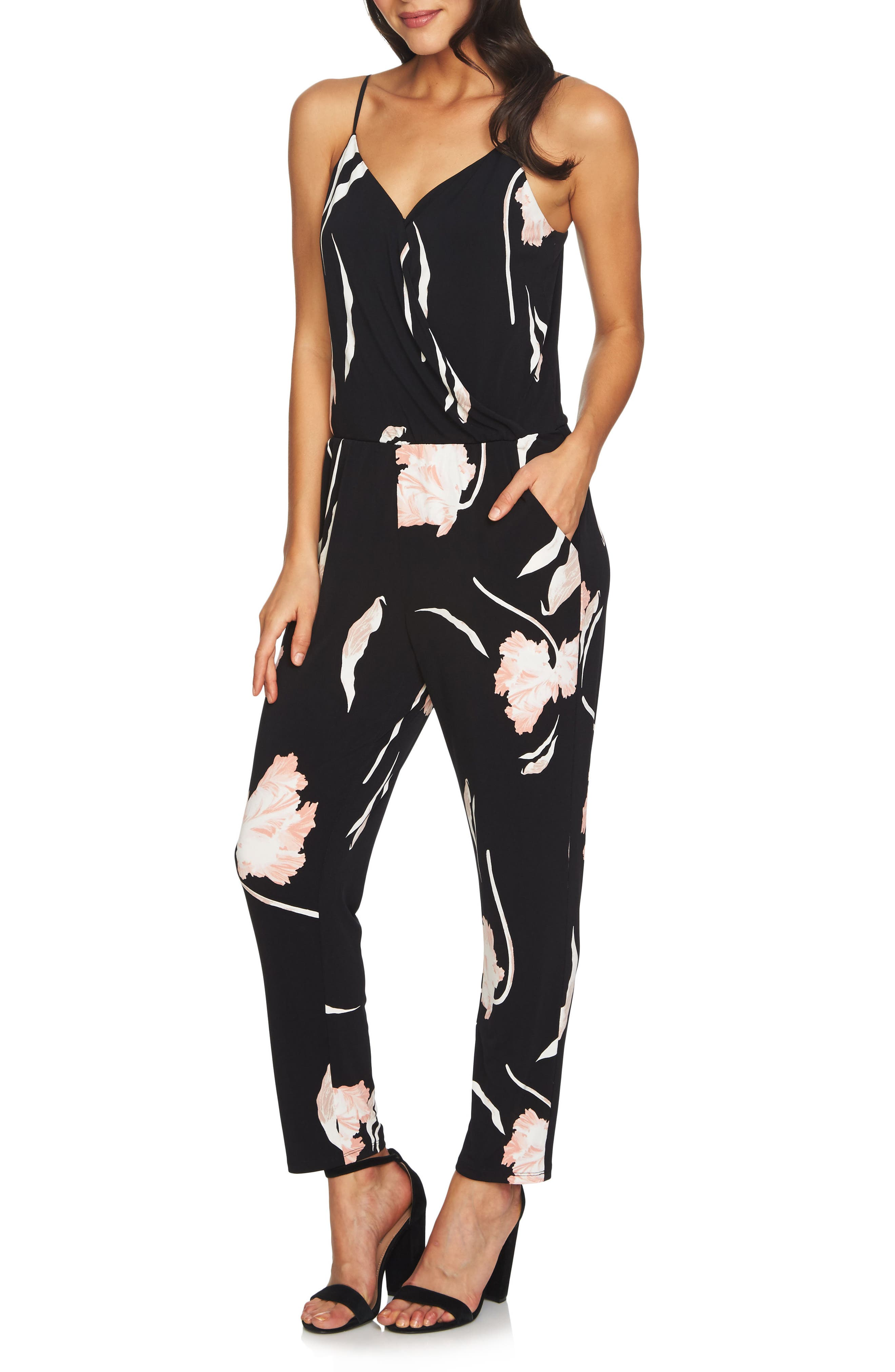 Floral Ankle Jumpsuit,                         Main,                         color, Cameo Pink