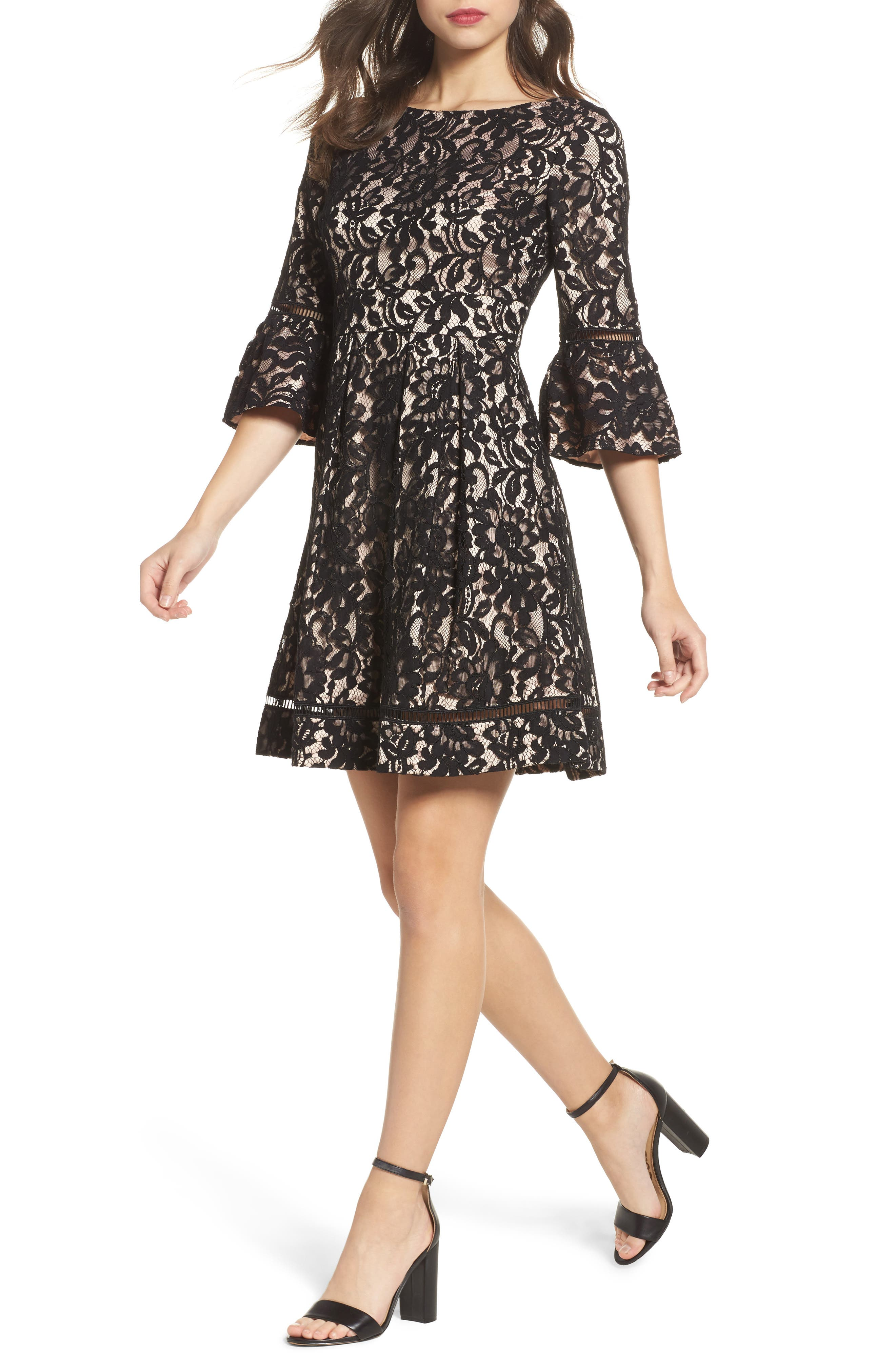 Eliza J Bell Sleeve Fit & Flare Dress (Regular & Petite)