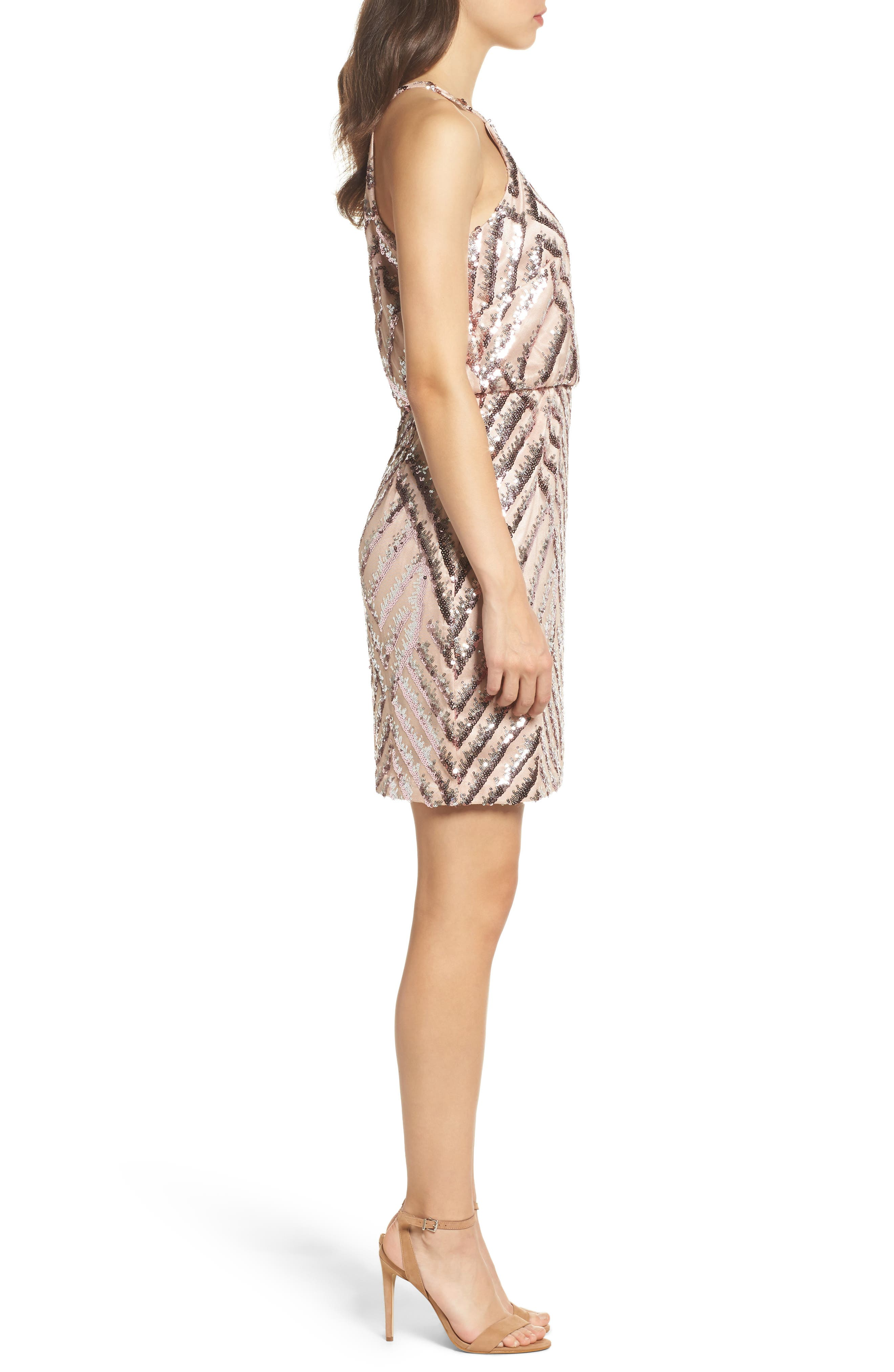 Sequin Blouson Dress,                             Alternate thumbnail 3, color,                             Pink