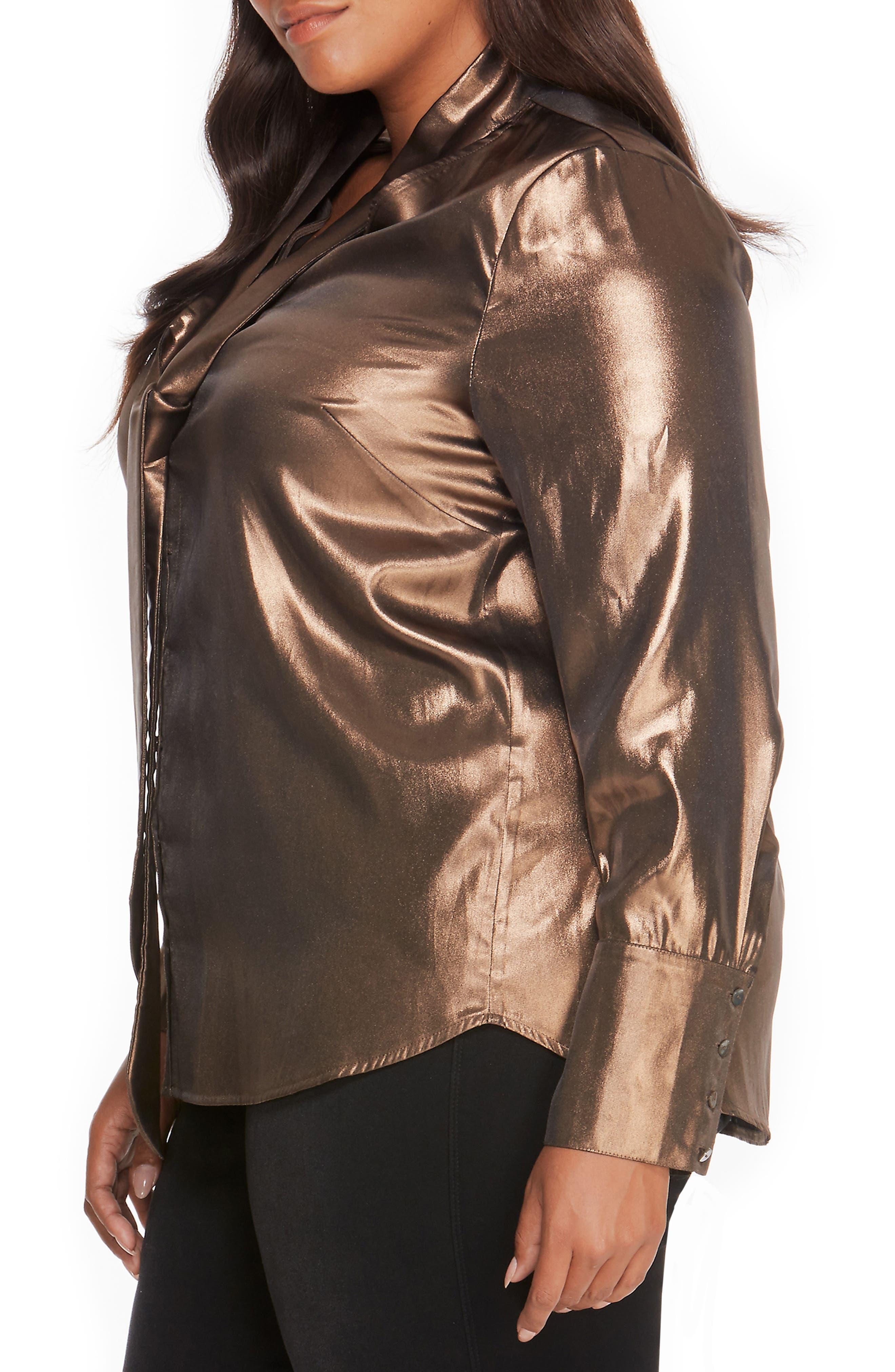 Alternate Image 3  - Rebel Wilson x Angels V-Neck Secretary Lamé Top (Plus Size)