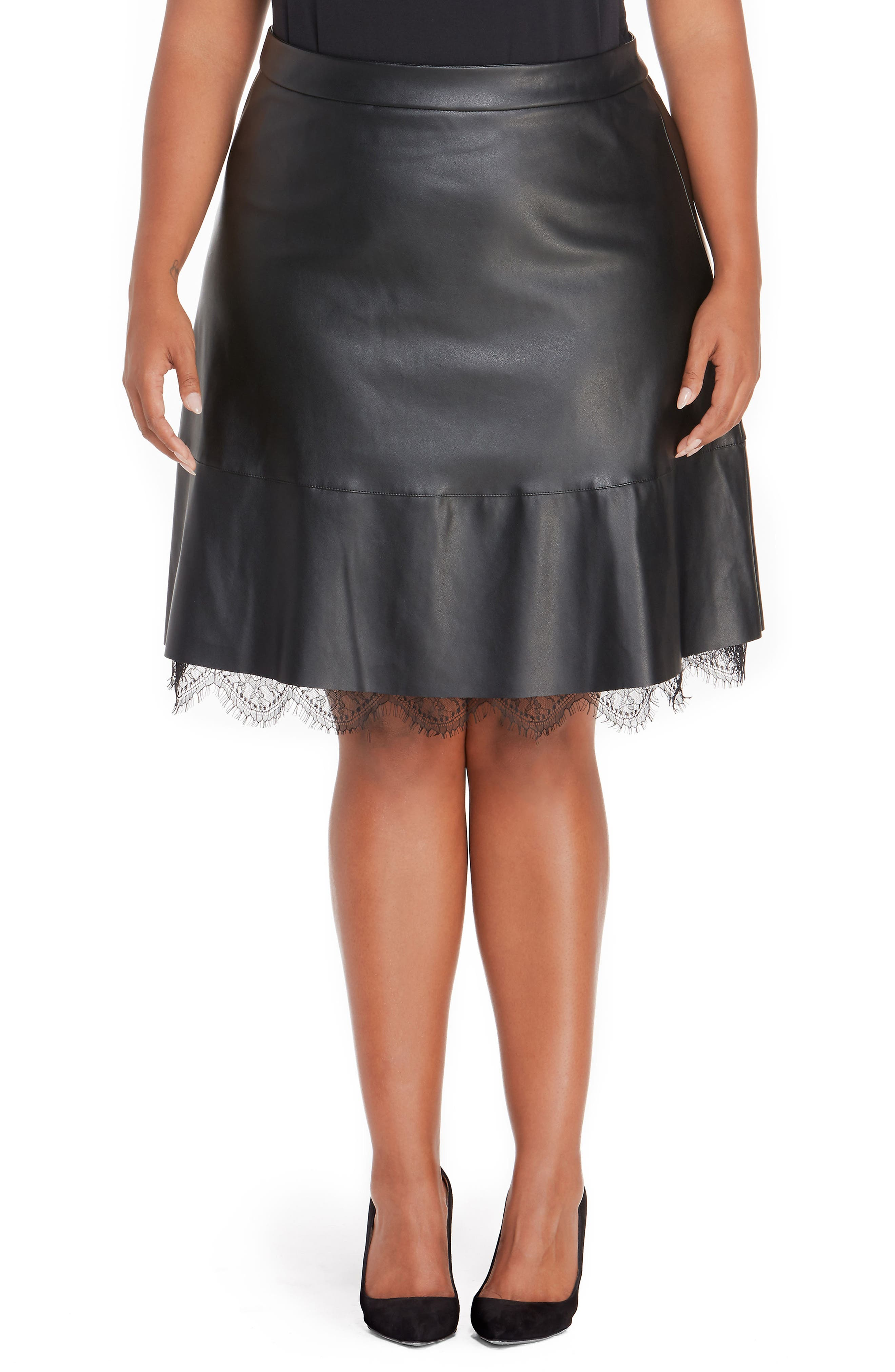 Faux Leather Pleated Skirt with Lace,                         Main,                         color, Black