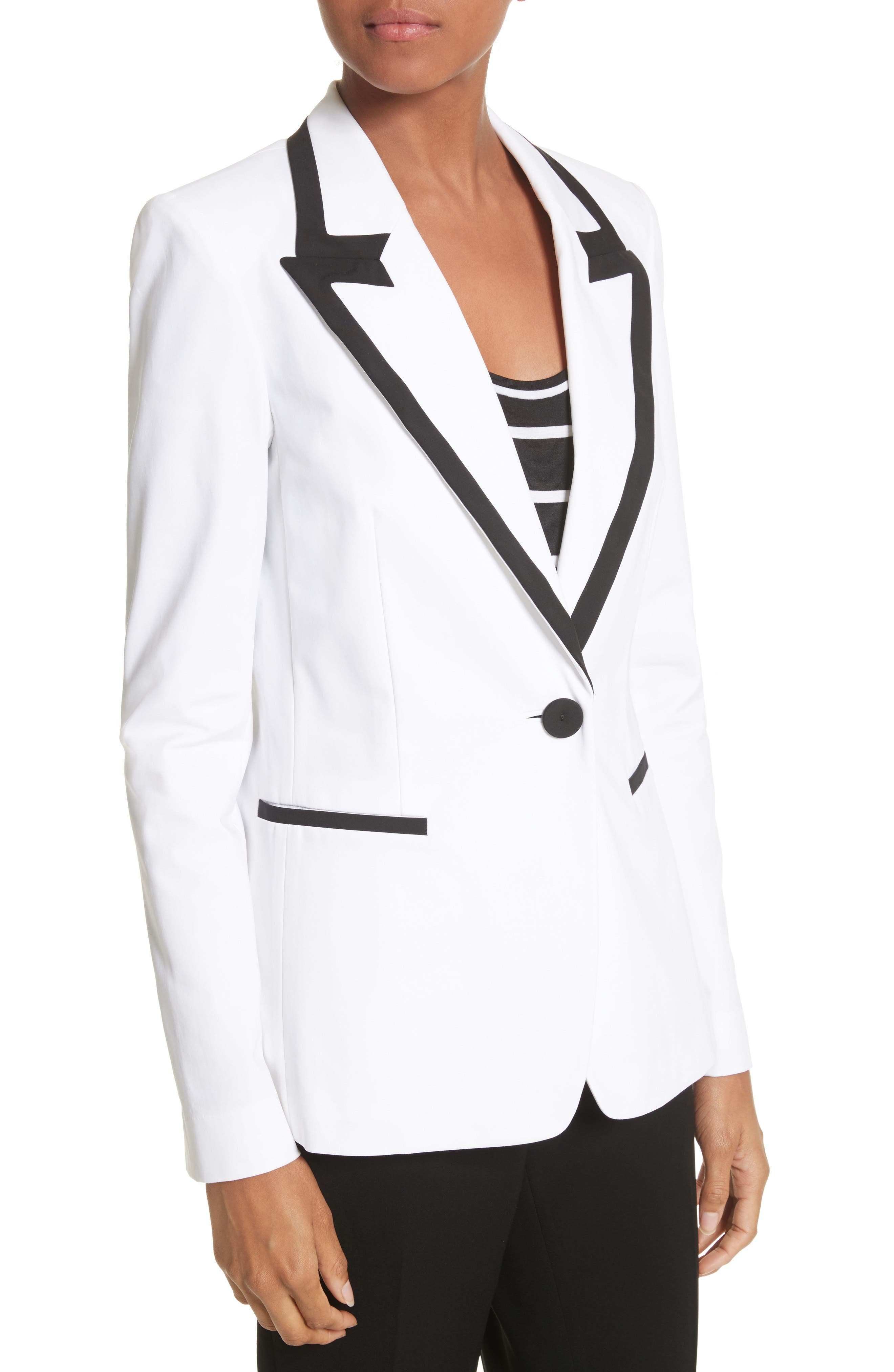 Briley Cotton Blend Blazer,                             Alternate thumbnail 5, color,                             White