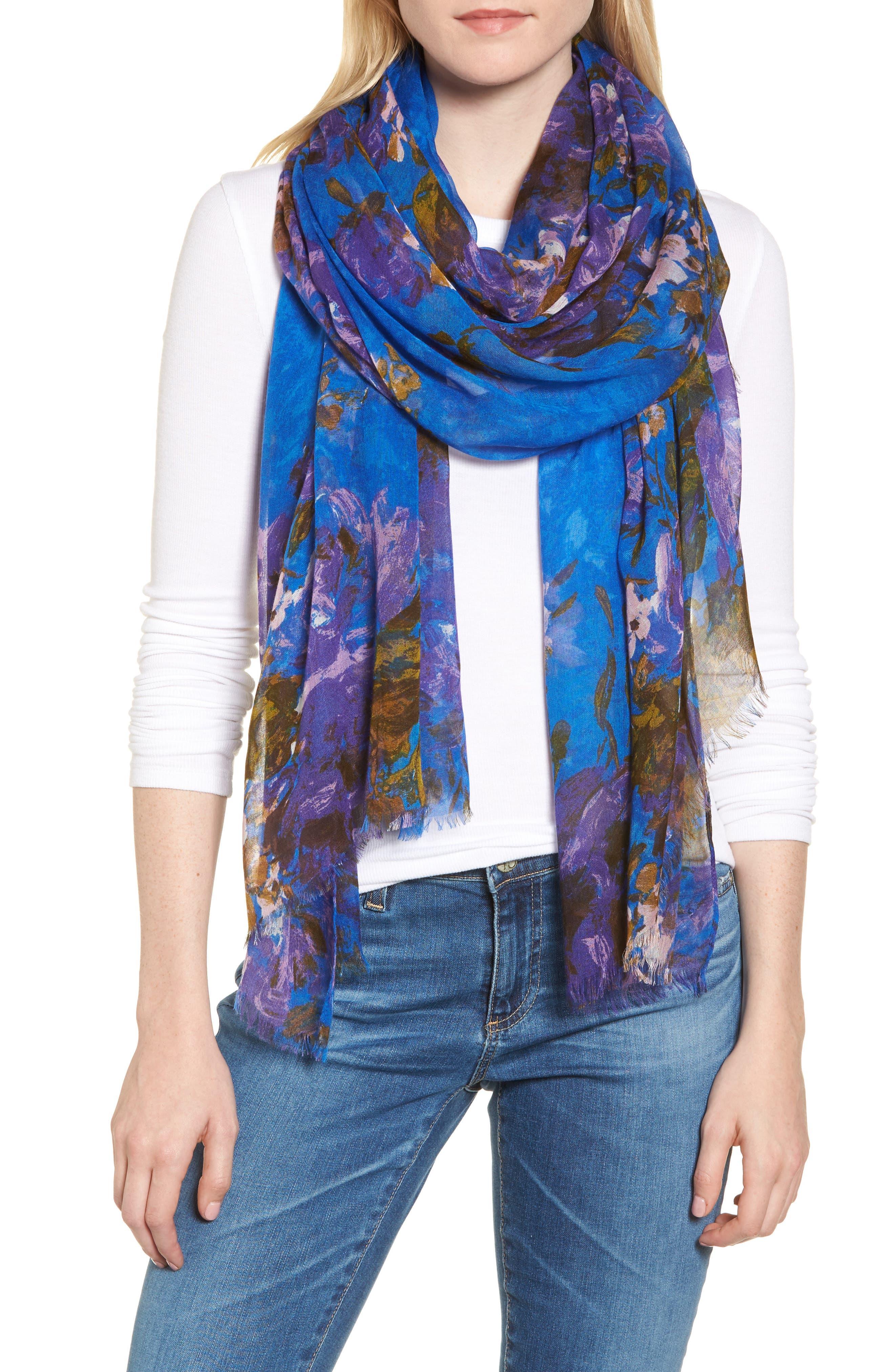 Print Modal & Silk Scarf,                         Main,                         color, Blue Haute Blooms