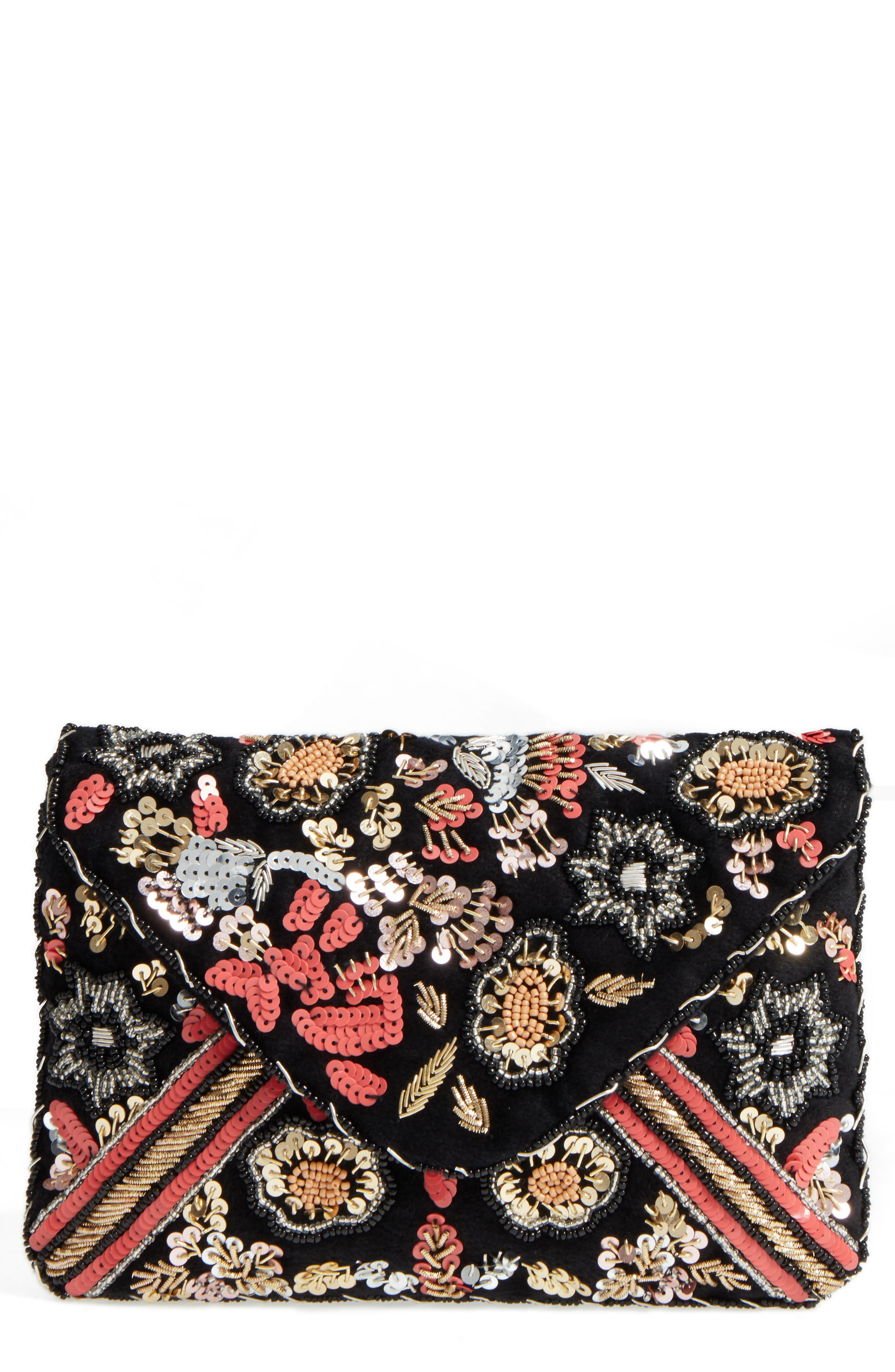 Sole Society Floral Sequin Clutch