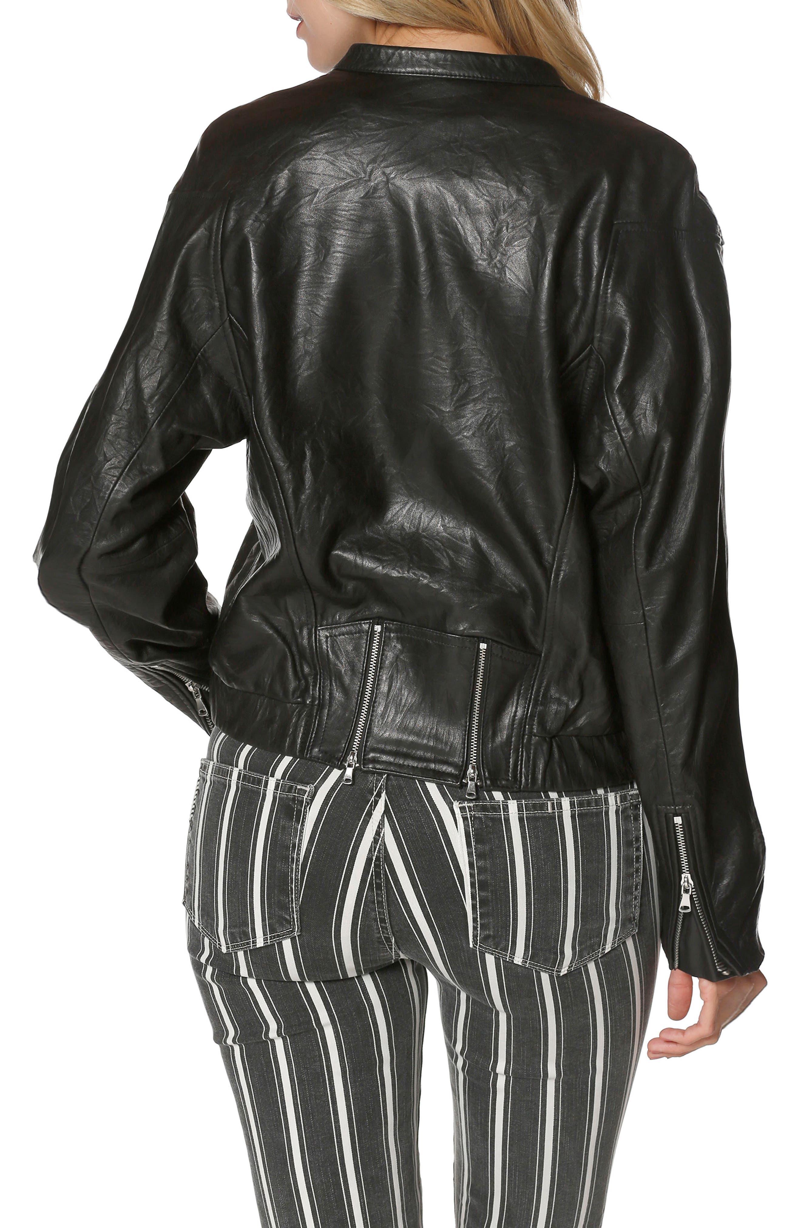 Giana Leather Moto Jacket,                             Alternate thumbnail 2, color,                             Black