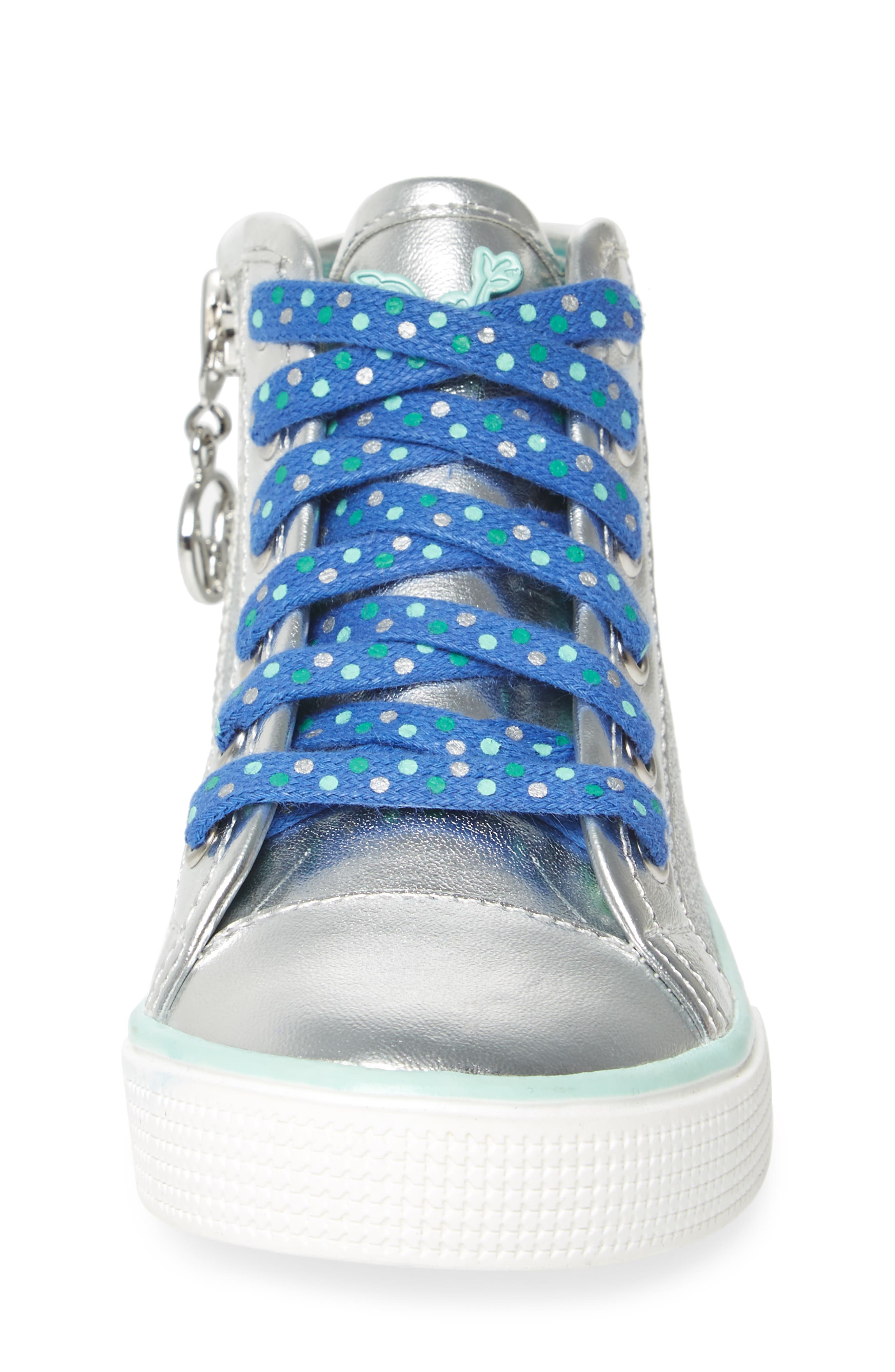 Camille Glitter High Top Sneaker,                             Alternate thumbnail 4, color,                             Silver