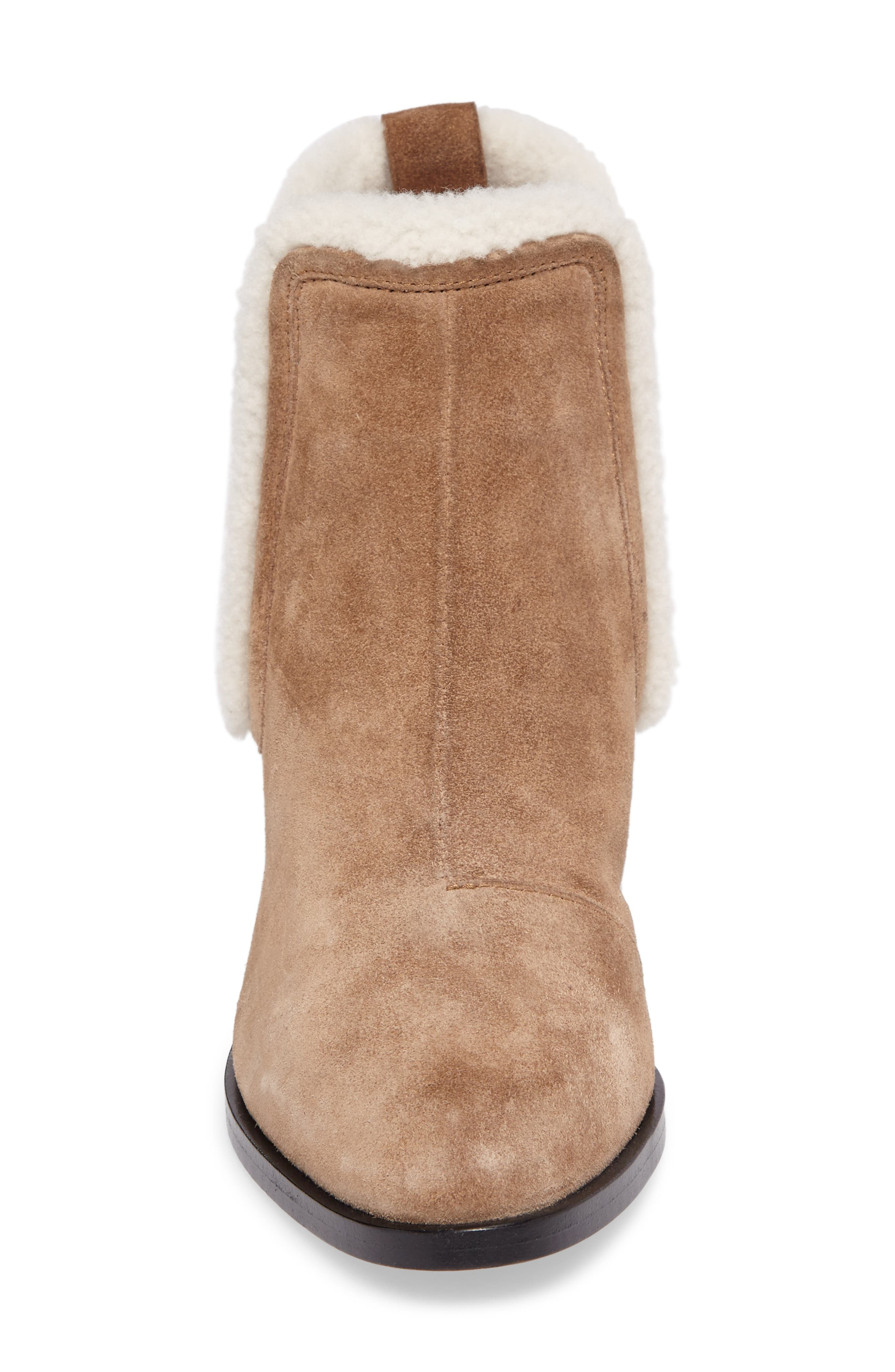 Walker Bootie with Genuine Shearling Trim,                             Alternate thumbnail 4, color,                             Camel
