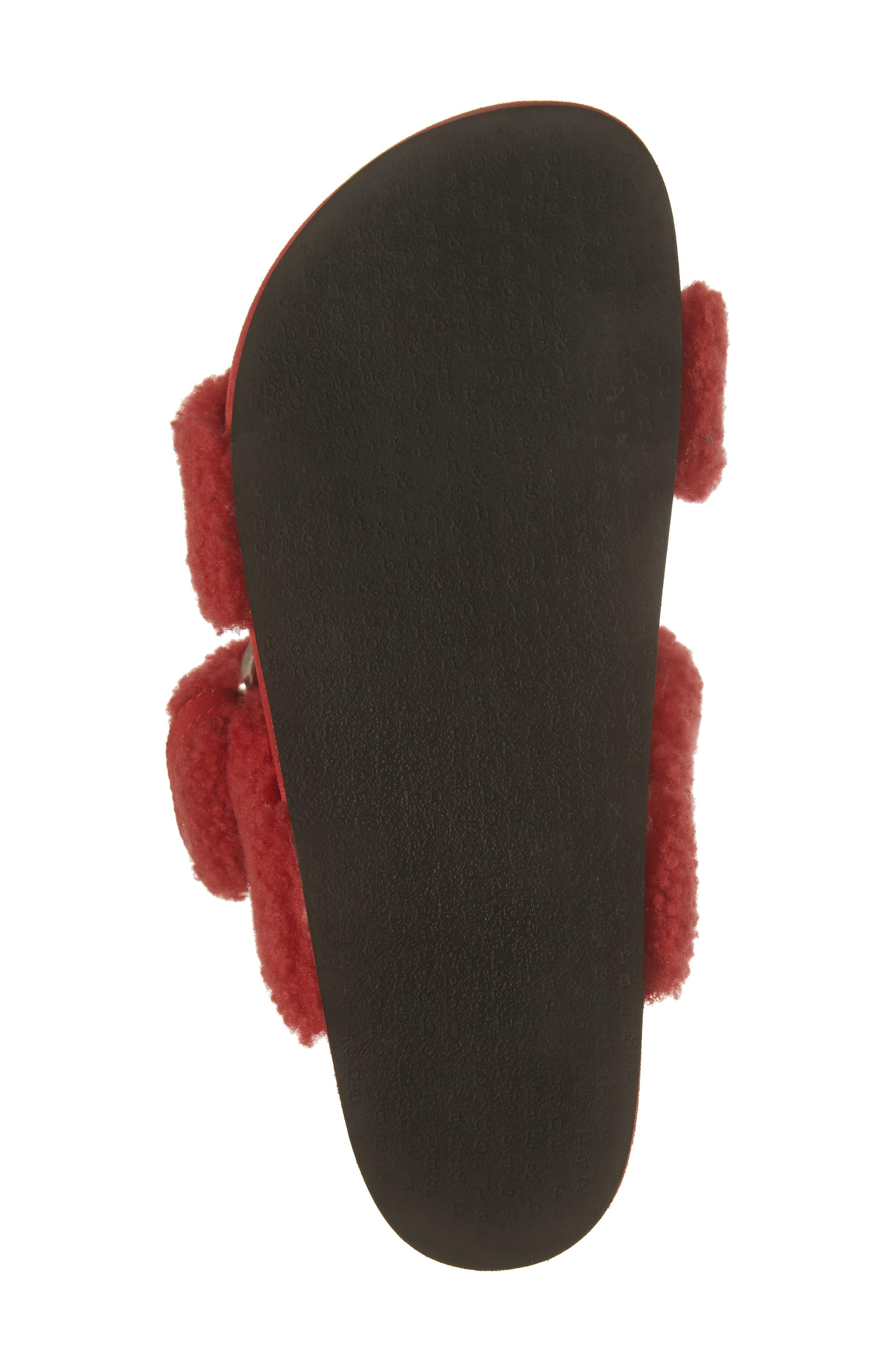 Evin Genuine Shearling Slide Sandal,                             Alternate thumbnail 6, color,                             Berry