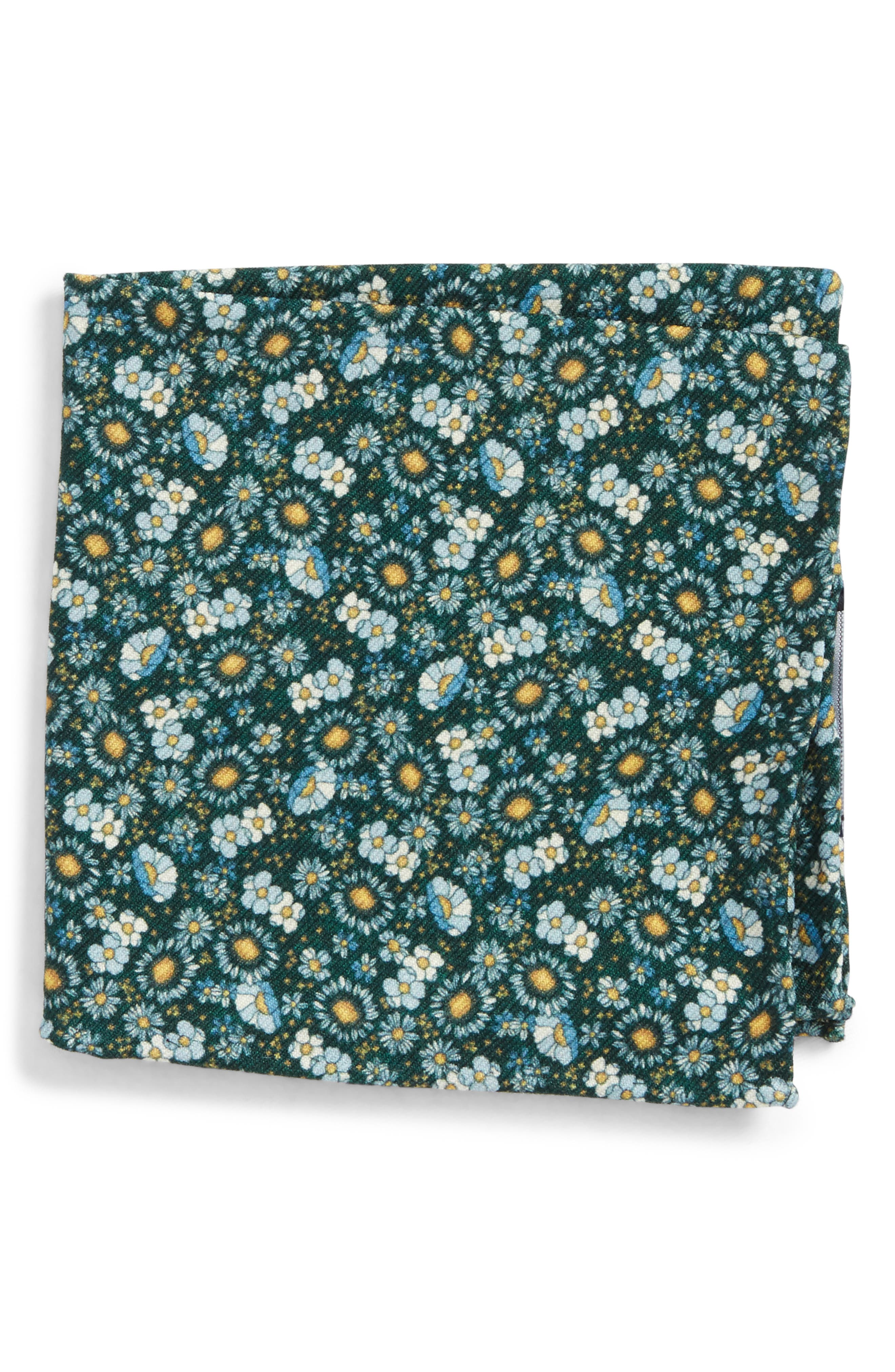 Flower City Wool Pocket Square,                             Main thumbnail 1, color,                             Hunter