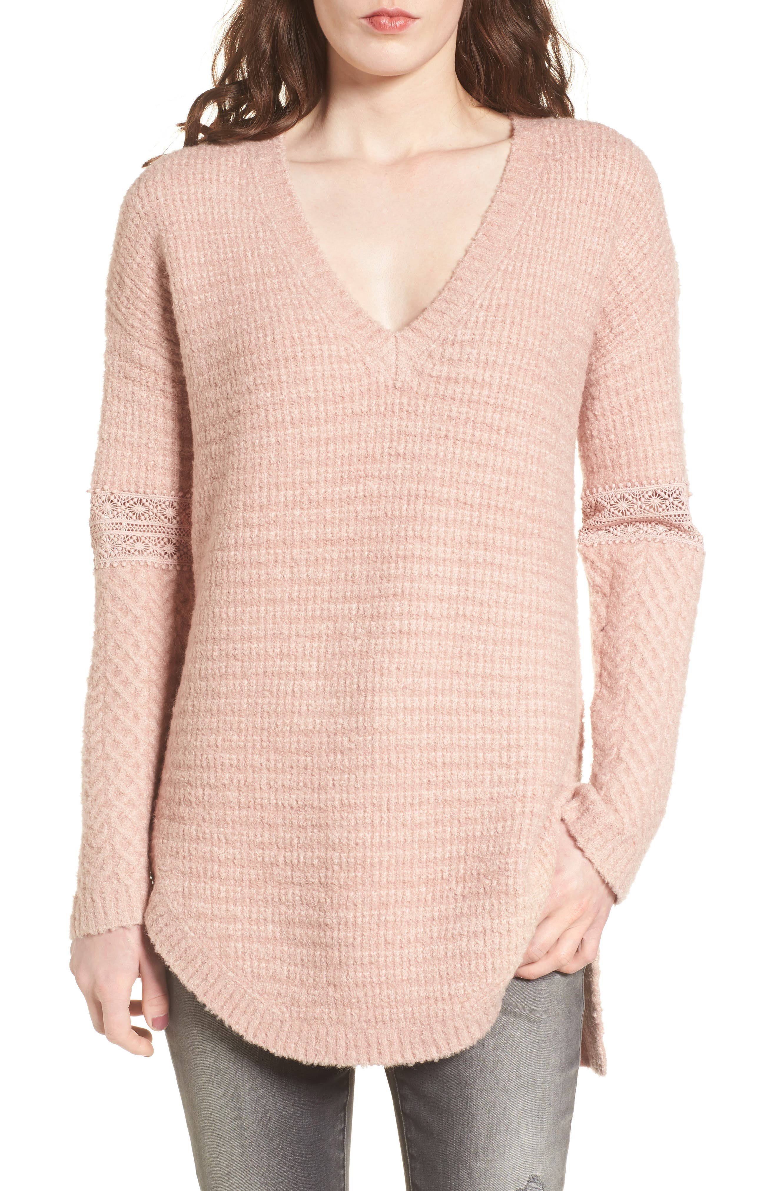 Lace Inset V-Neck Sweater,                             Main thumbnail 1, color,                             Pink Adobe
