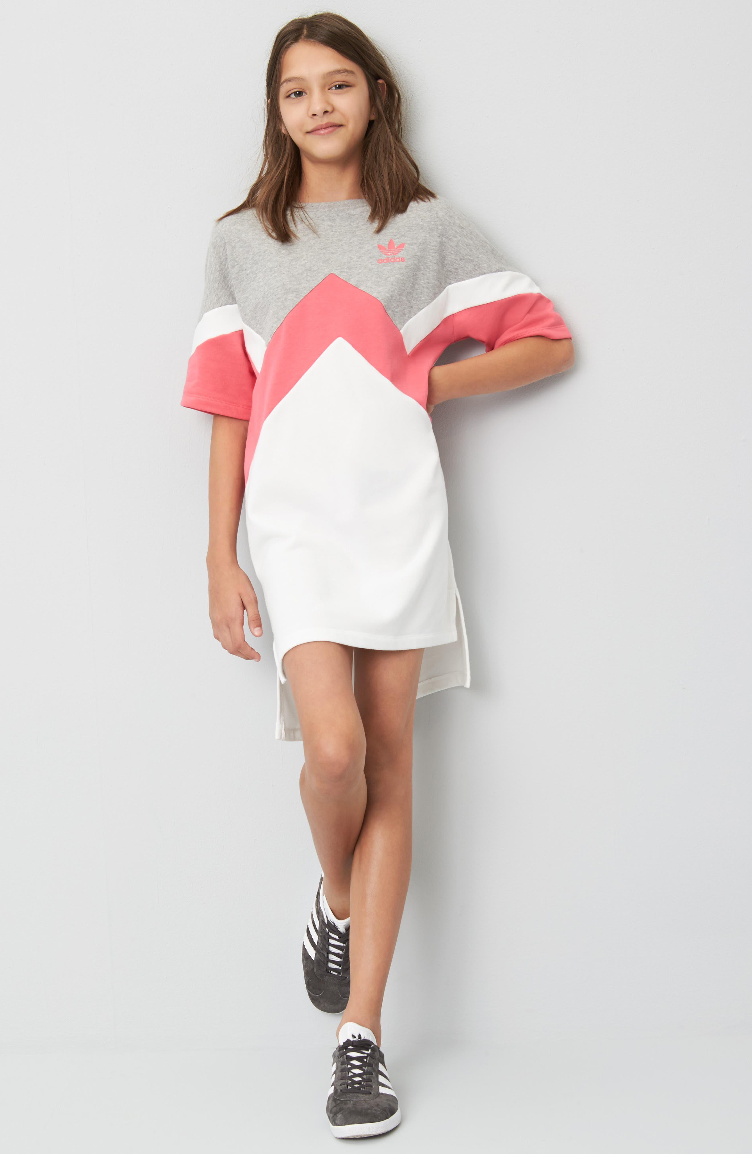 T-Shirt Dress,                             Alternate thumbnail 2, color,                             Grey / Pink/ White