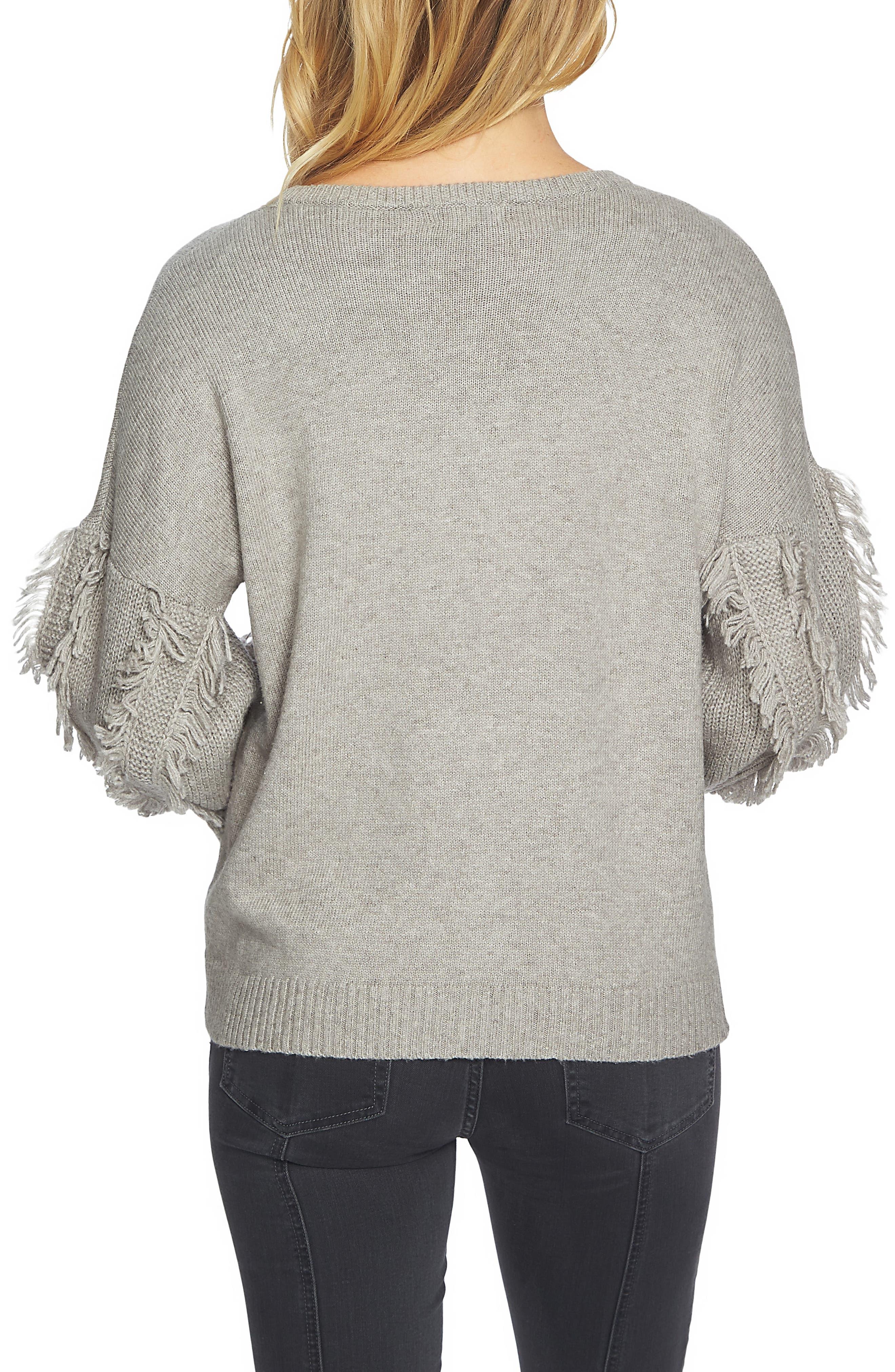 Fringe Sleeve Sweater,                             Alternate thumbnail 2, color,                             Light Heather Grey