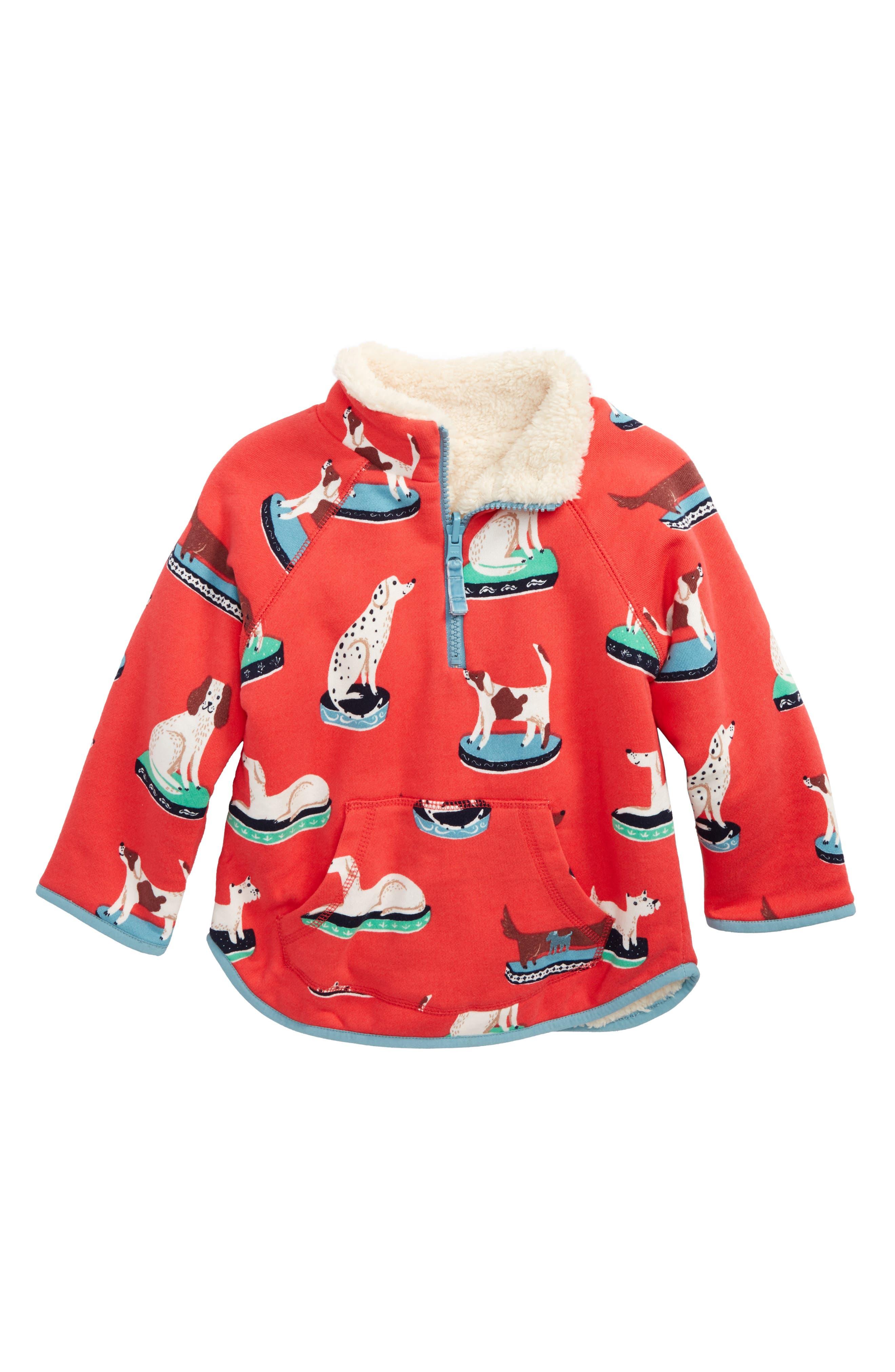 Alternate Image 1 Selected - Mini Boden Teddy Bear Reversible Half Zip Pullover (Toddler Girls, Little Girls & Big Girls)