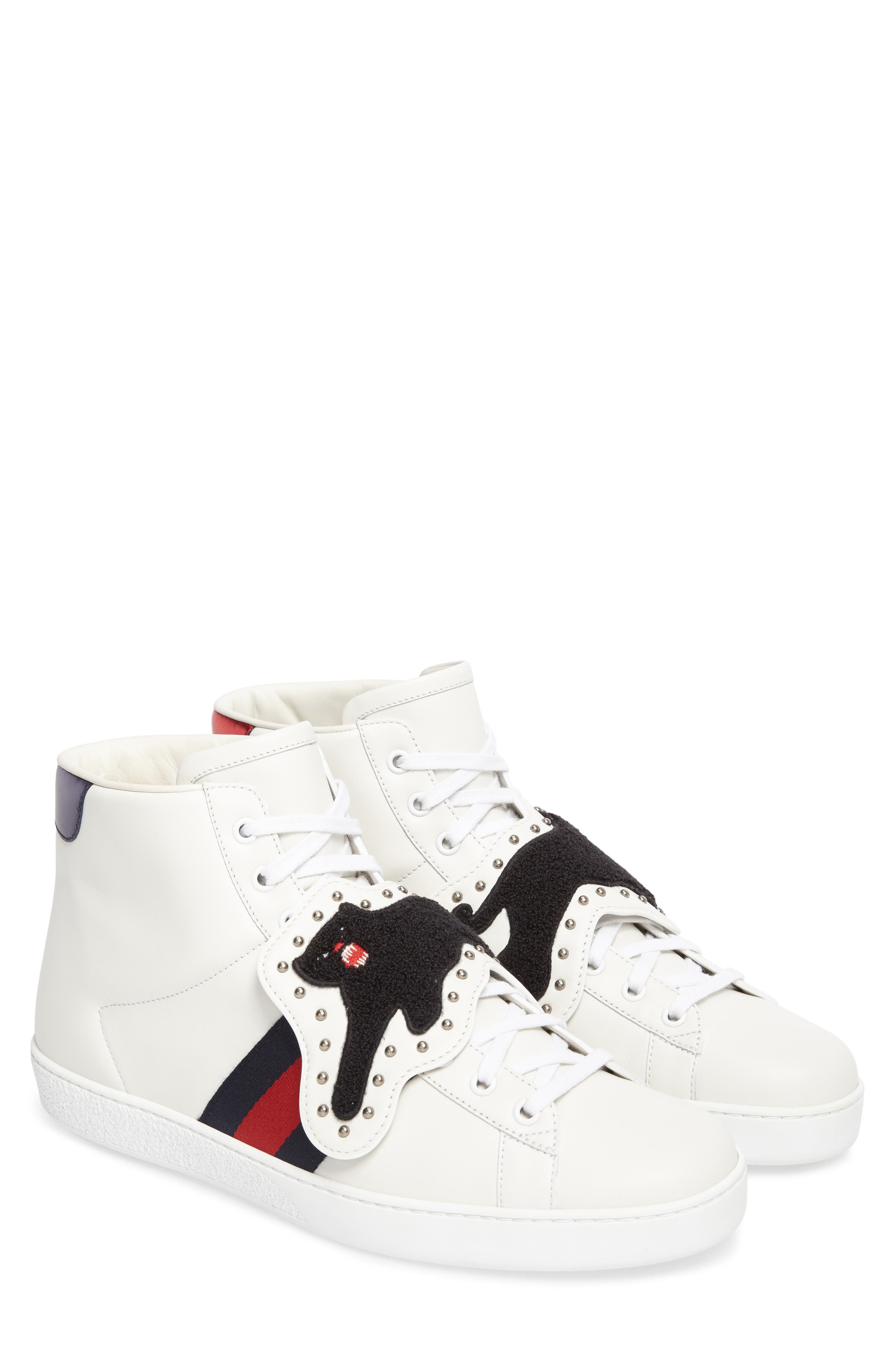 gucci shoes black and white. gucci new ace hi panther sneaker (men) shoes black and white