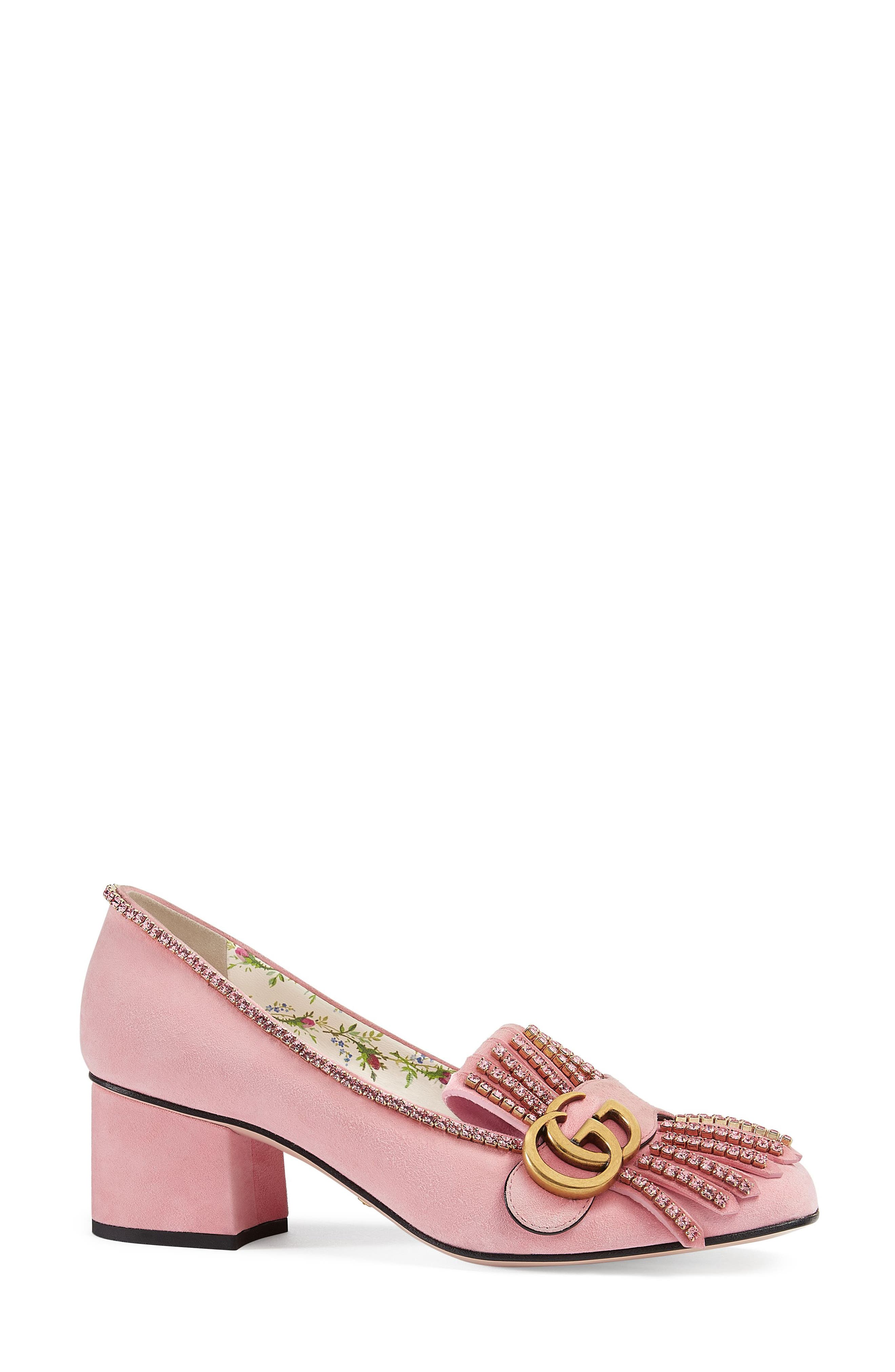 GG Marmont Crystal Embellished Pump,                             Main thumbnail 1, color,                             Light Rose