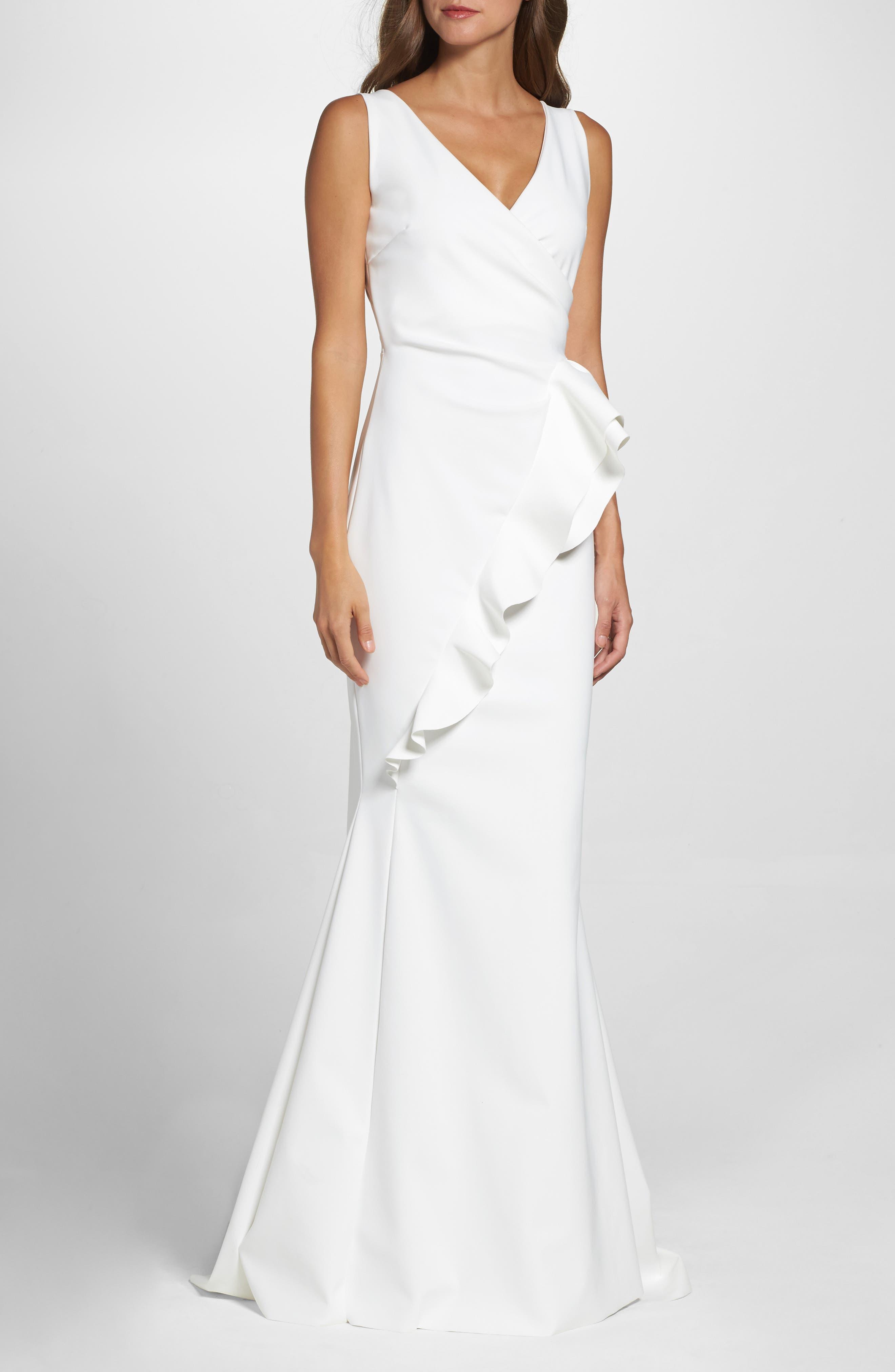 Keke Ruffle Front Surplice Gown,                             Main thumbnail 1, color,                             White