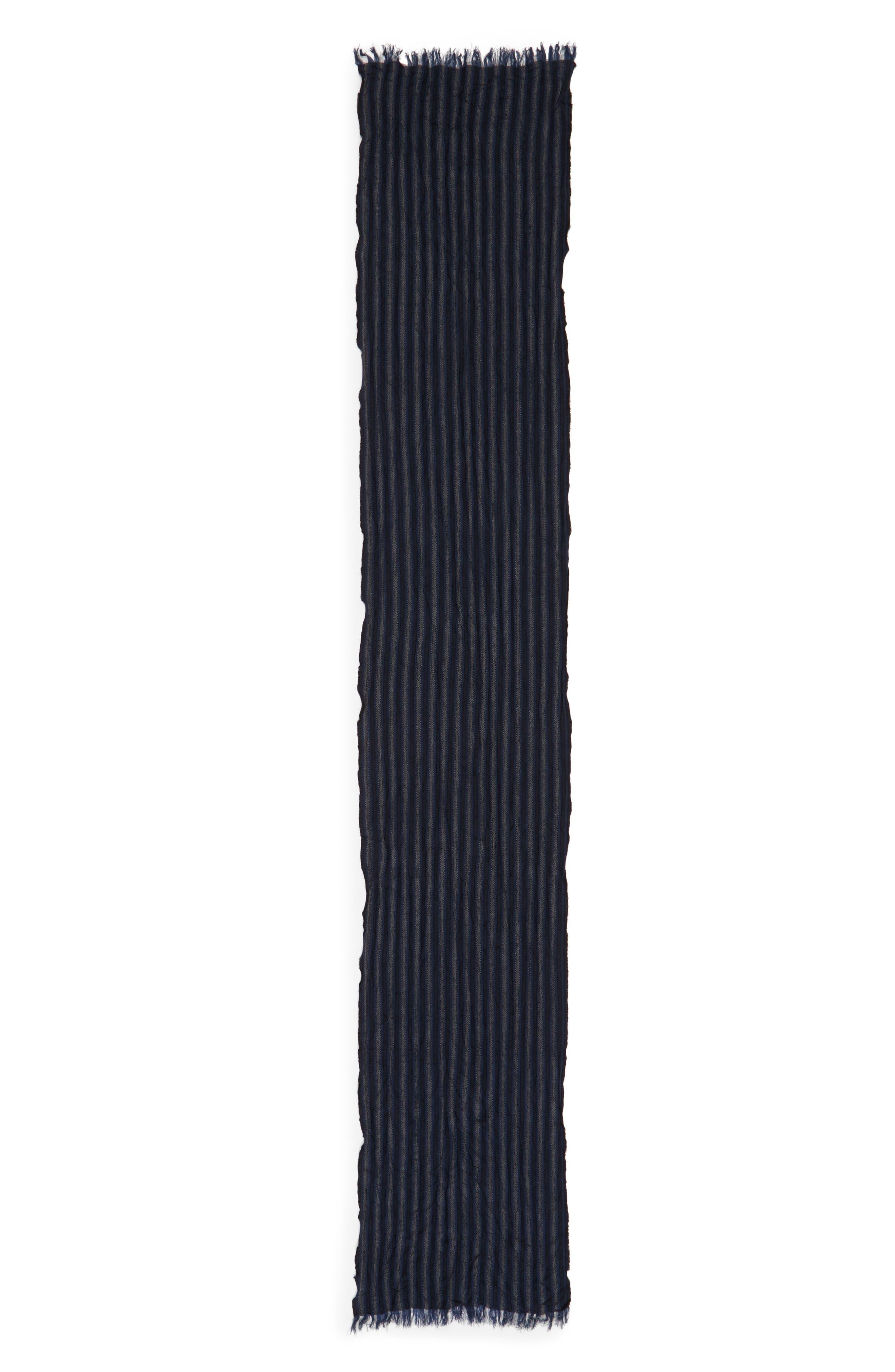 Crinkle Stripe Wool Scarf,                             Alternate thumbnail 2, color,                             Midnight Navy