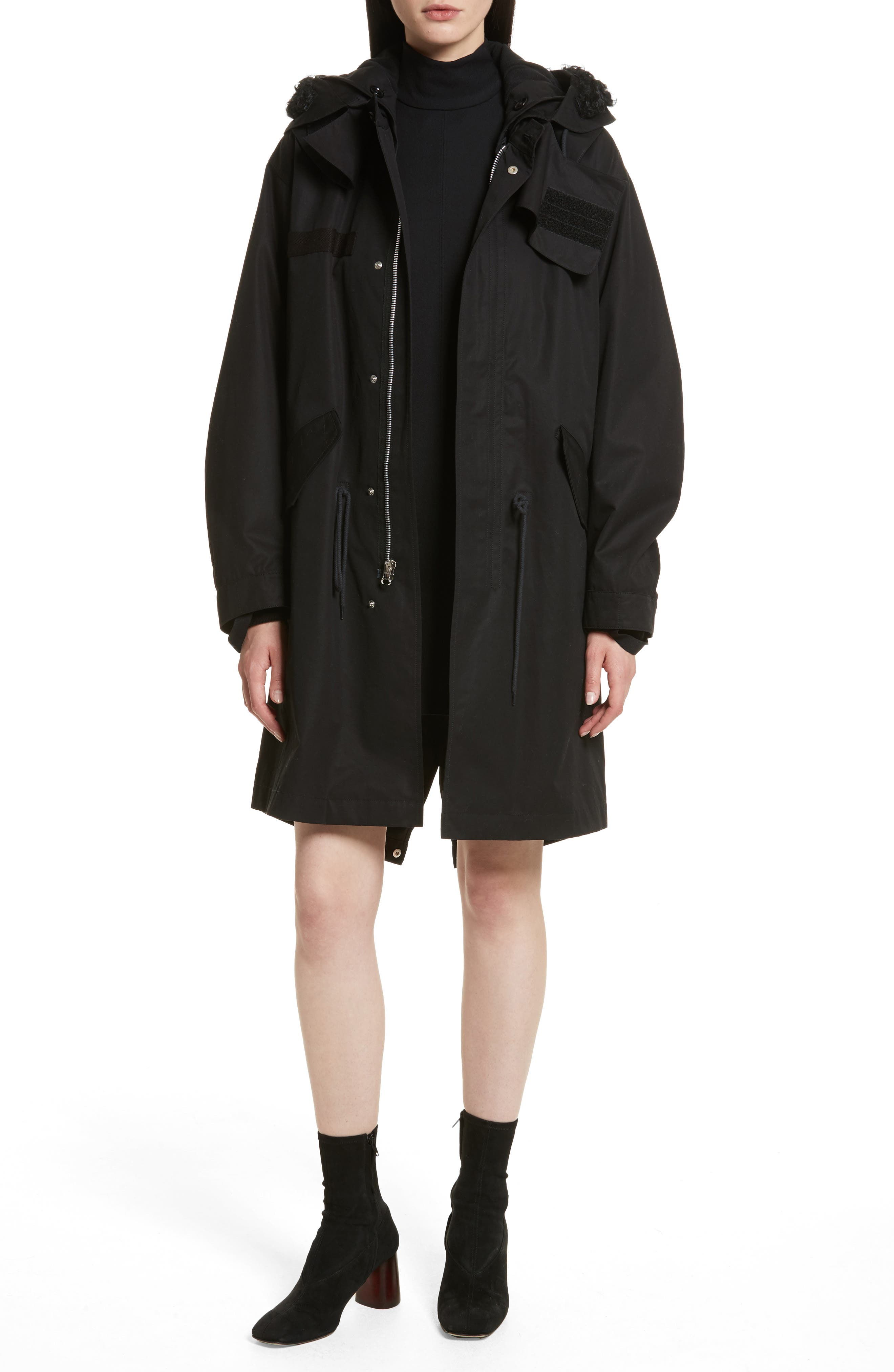 Re-Edition Genuine Kalgan Shearling Trim & Genuine Goat Hair Lining Hooded Parka,                             Main thumbnail 1, color,                             Black