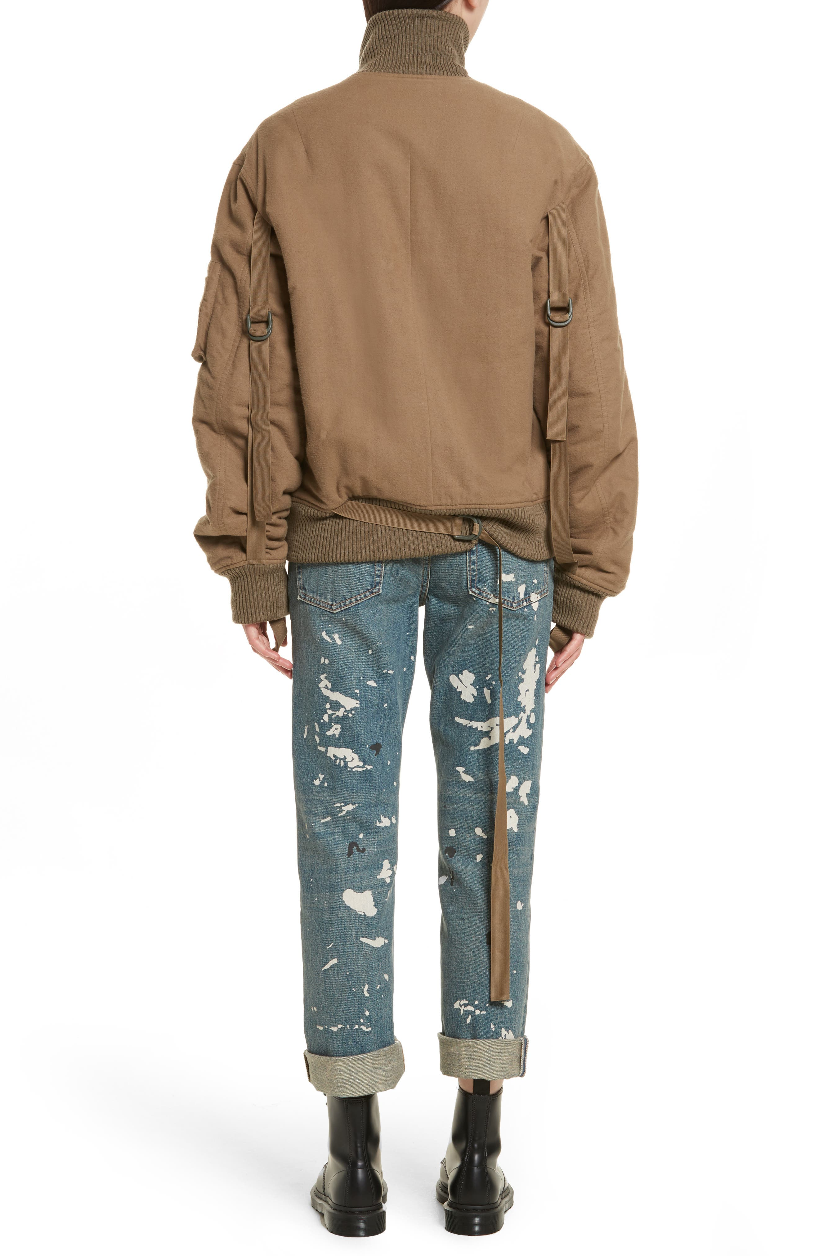 Re-Edition High Collar Bomber Jacket,                             Alternate thumbnail 3, color,                             Army Green