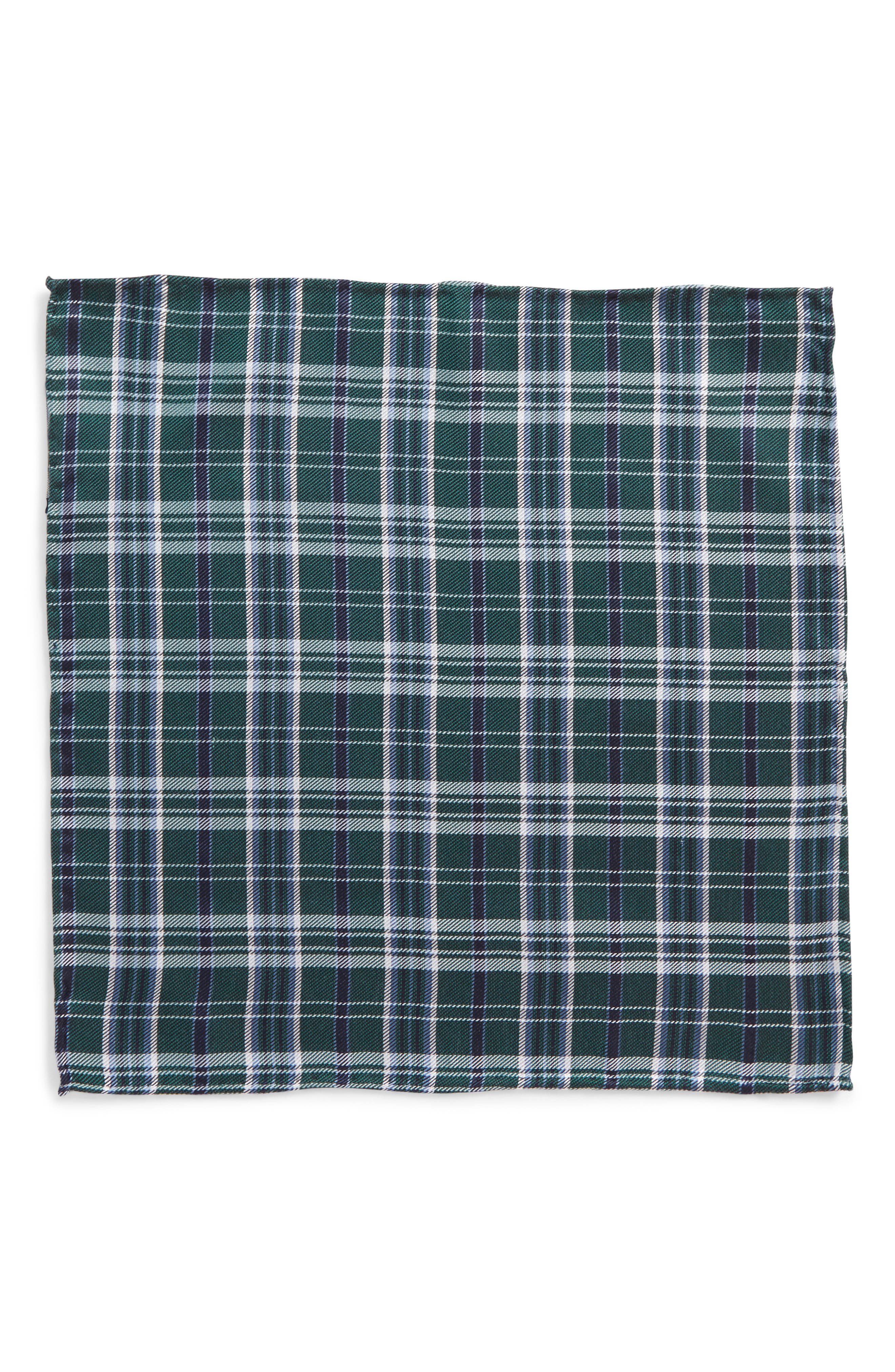 Andersen Plaid Wool Pocket Square,                             Alternate thumbnail 3, color,                             Hunter Green