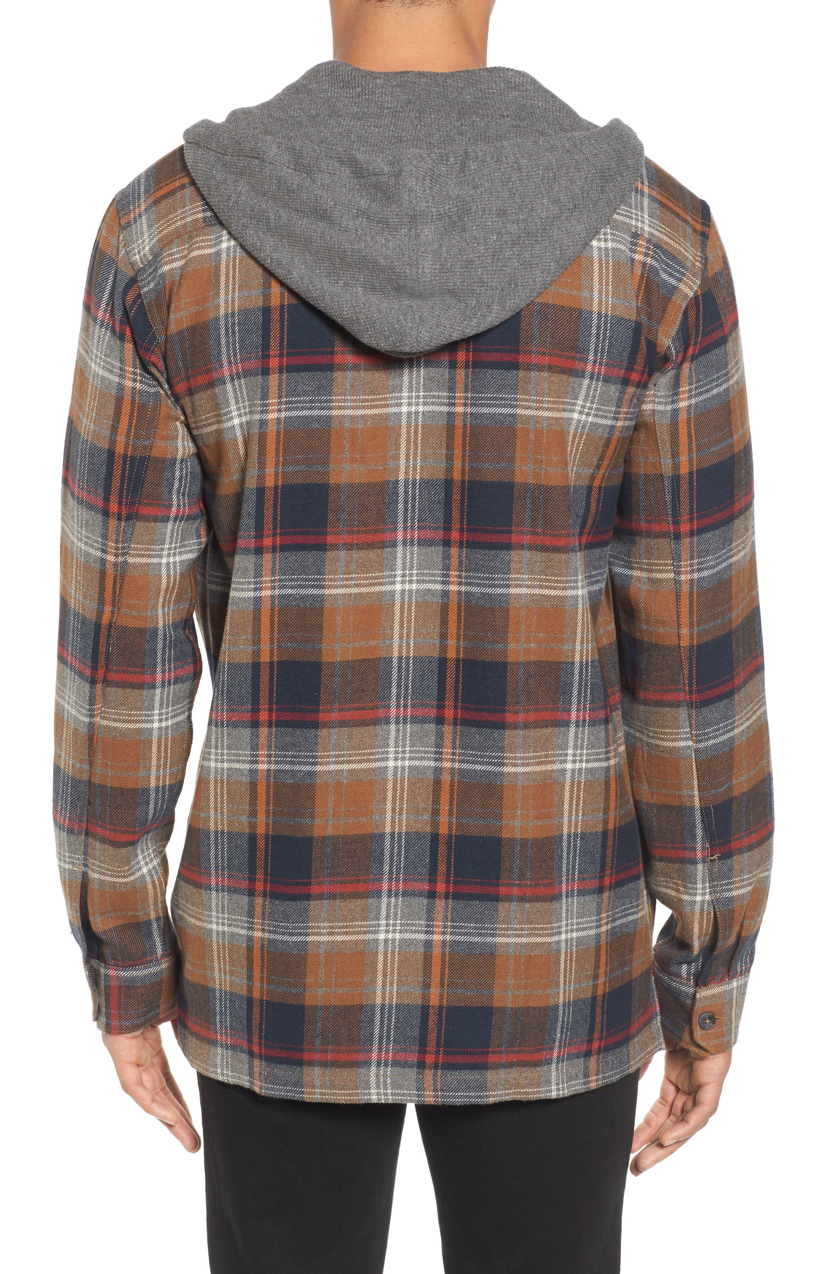 Baja Hooded Flannel Shirt,                             Alternate thumbnail 2, color,                             Tobacco