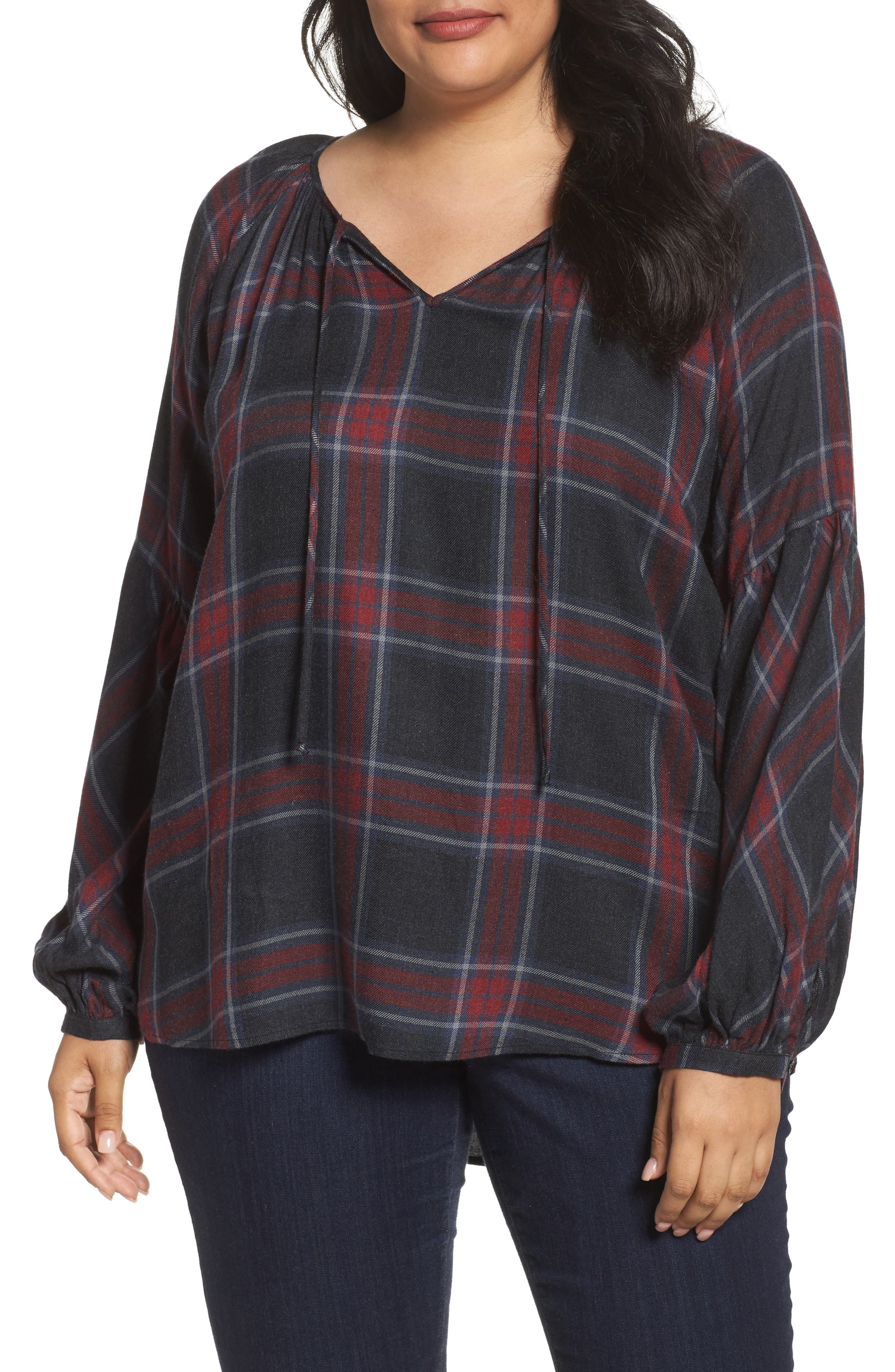 Main Image - Two by Vince Camuto Serenade Tie Neck Plaid Top (Plus Size)