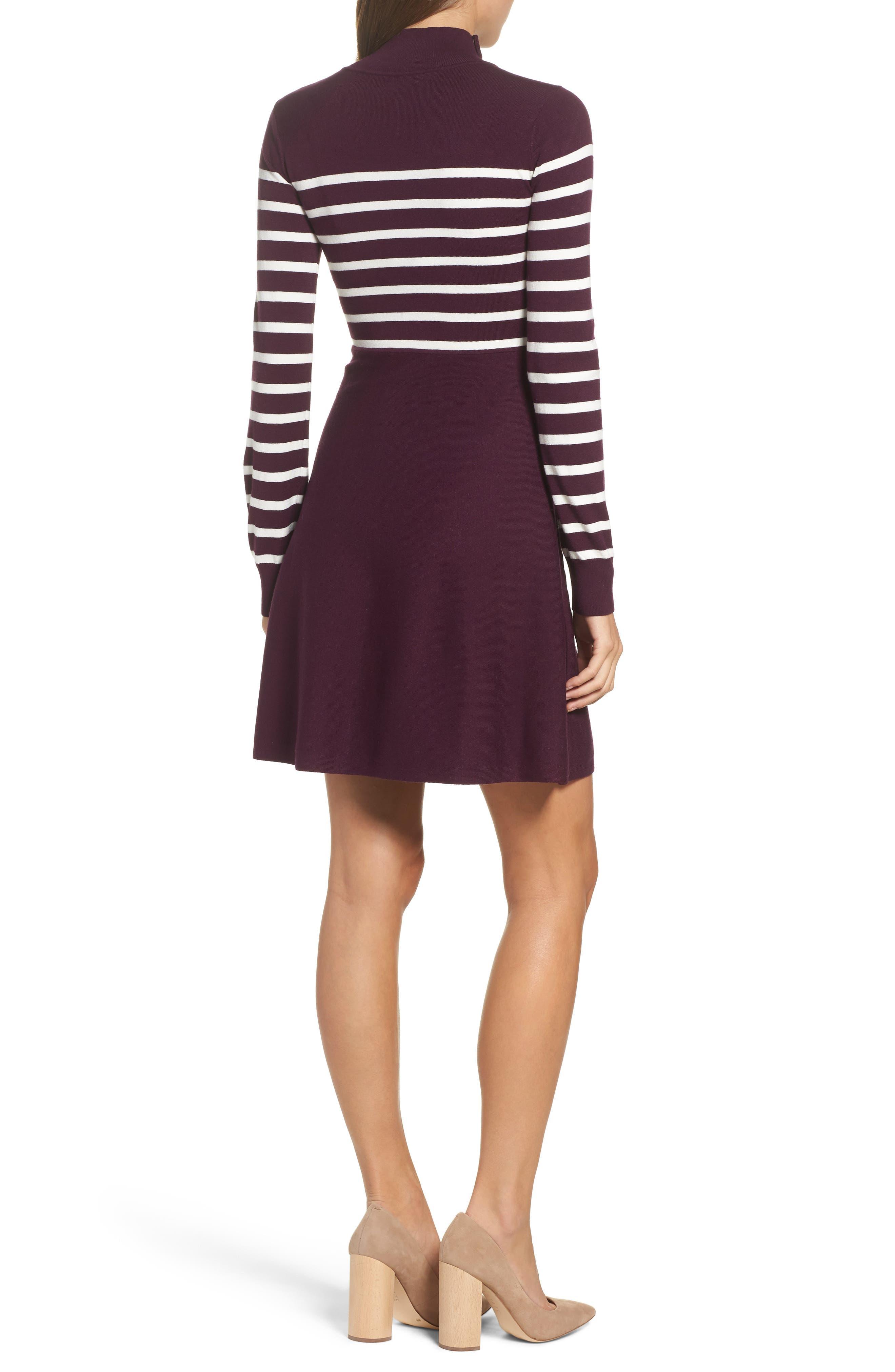 Stripe Mock Neck Fit & Flare Dress,                             Alternate thumbnail 2, color,                             Wine