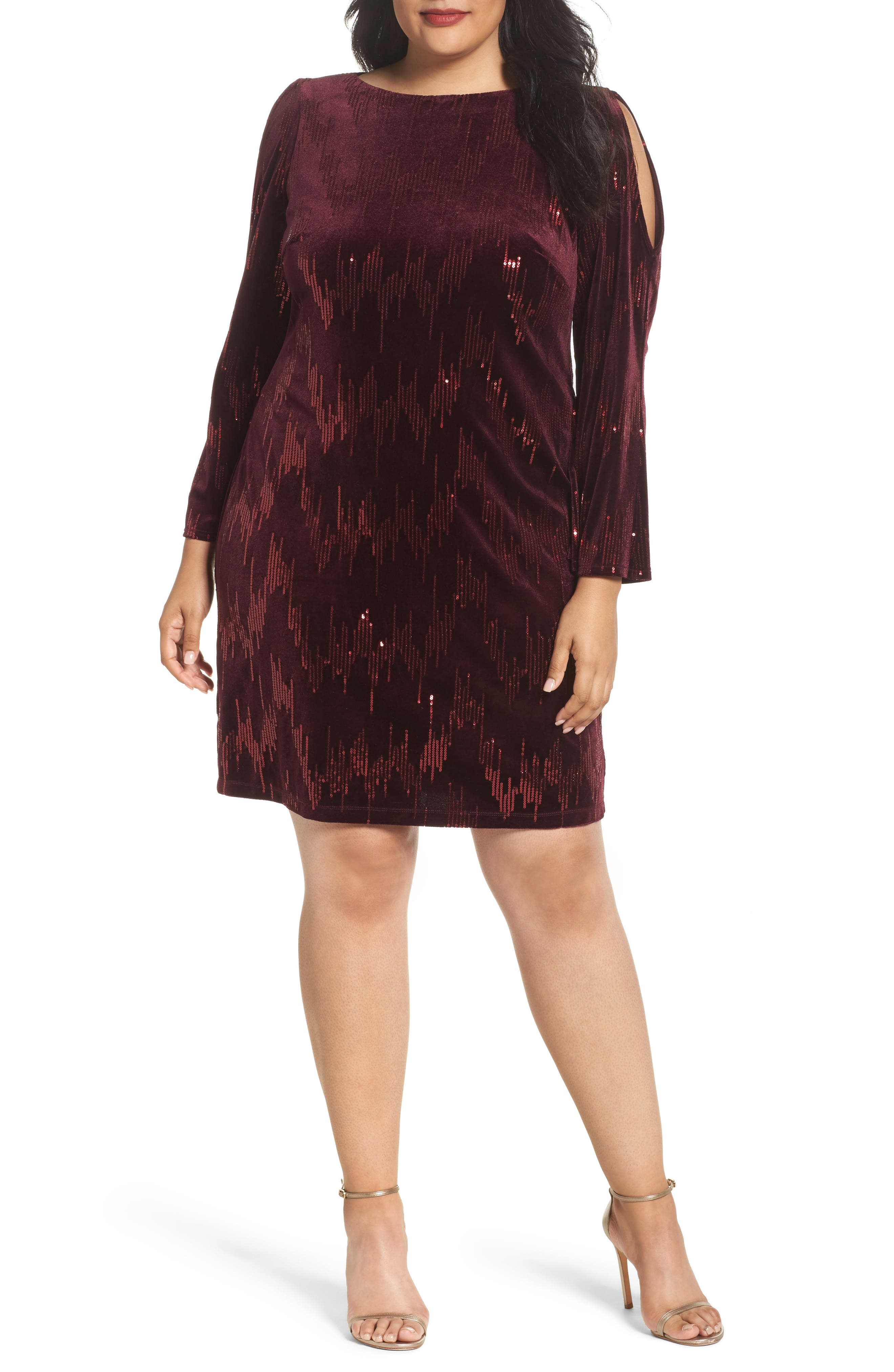 Eliza J Split Sleeve Sequin Dress (Plus Size)