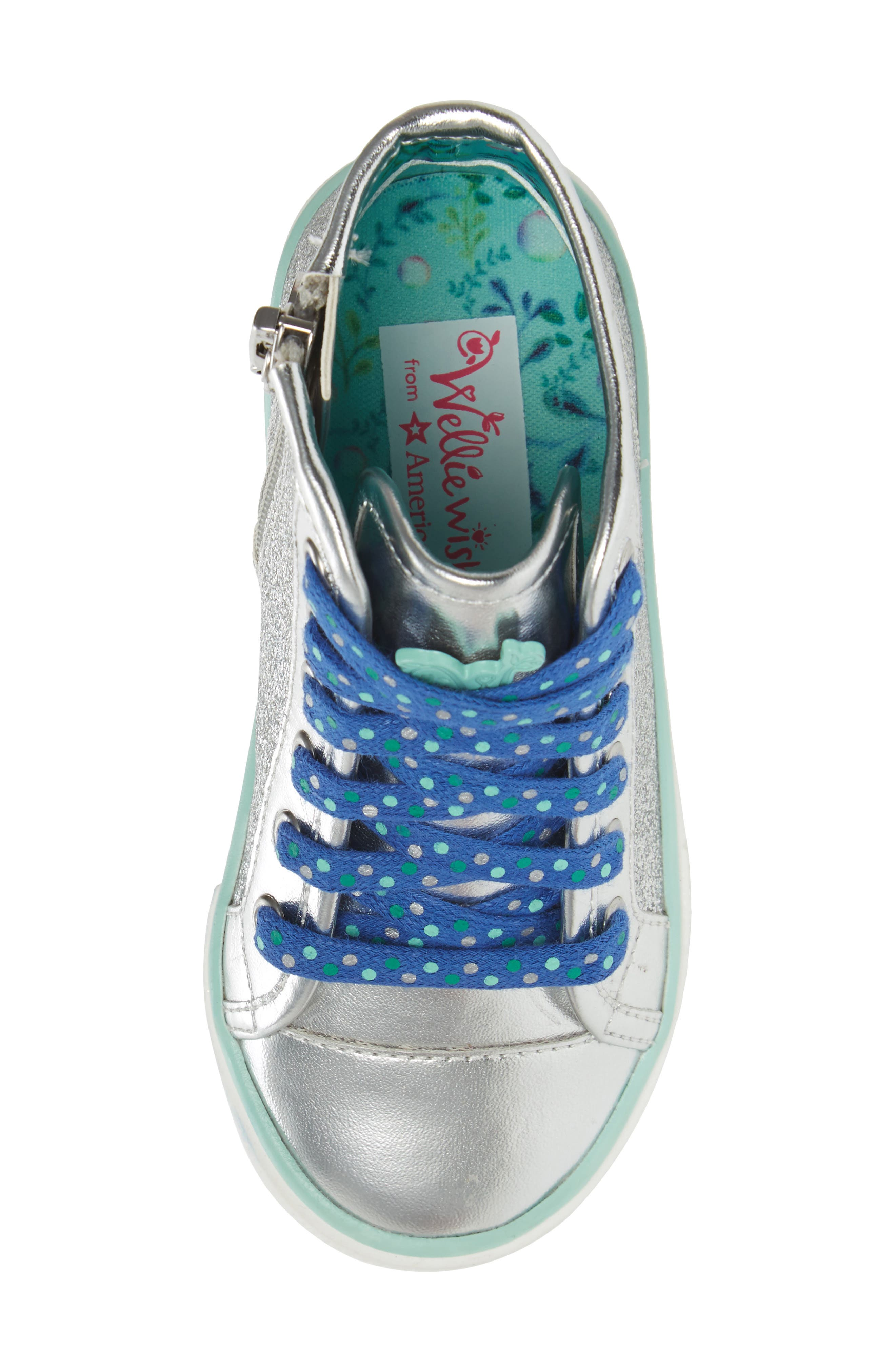 Camille Glitter High Top Sneaker,                             Alternate thumbnail 5, color,                             Silver