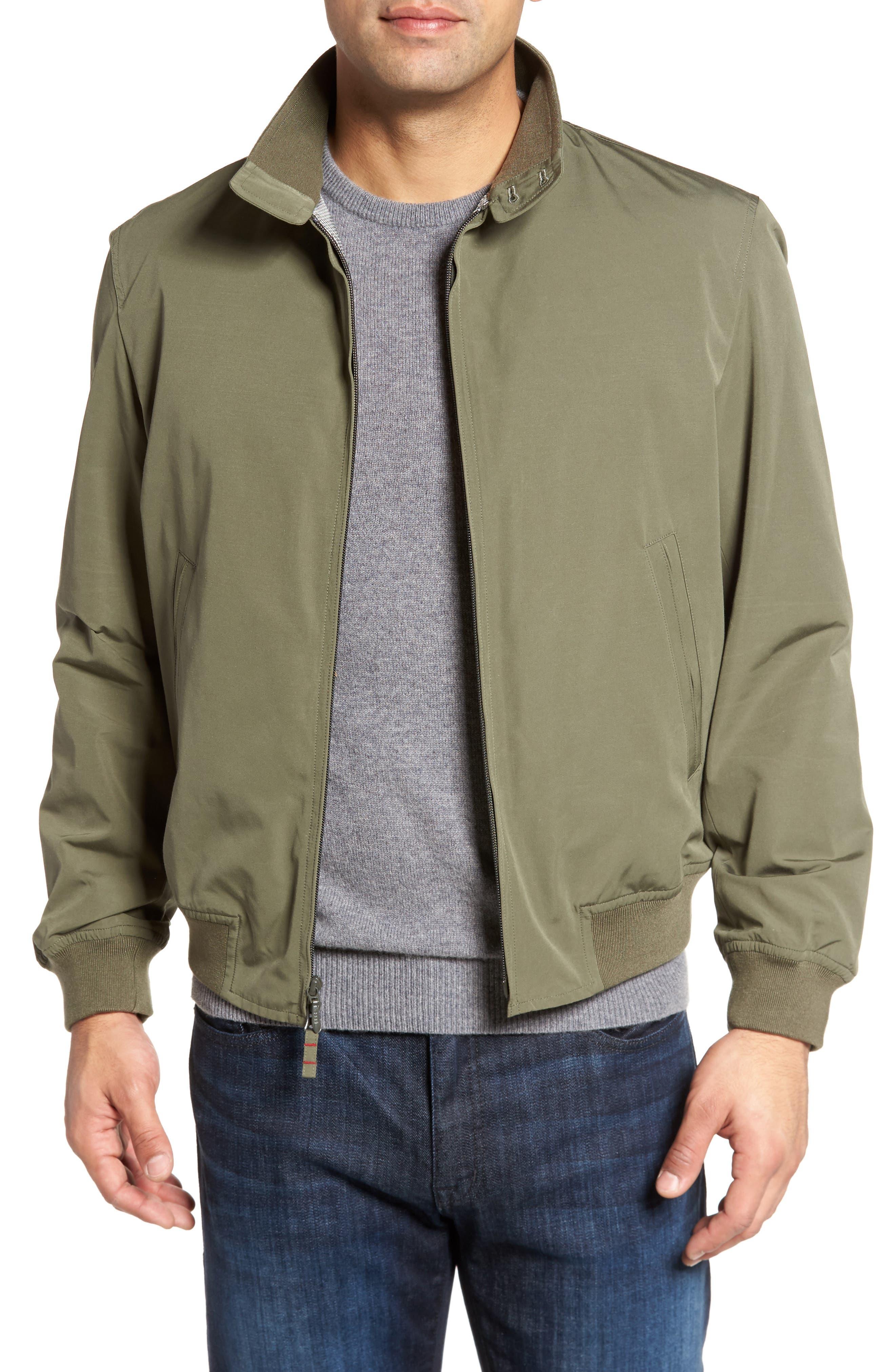 Water-Repellent Zip Front Jacket,                         Main,                         color, Military Green