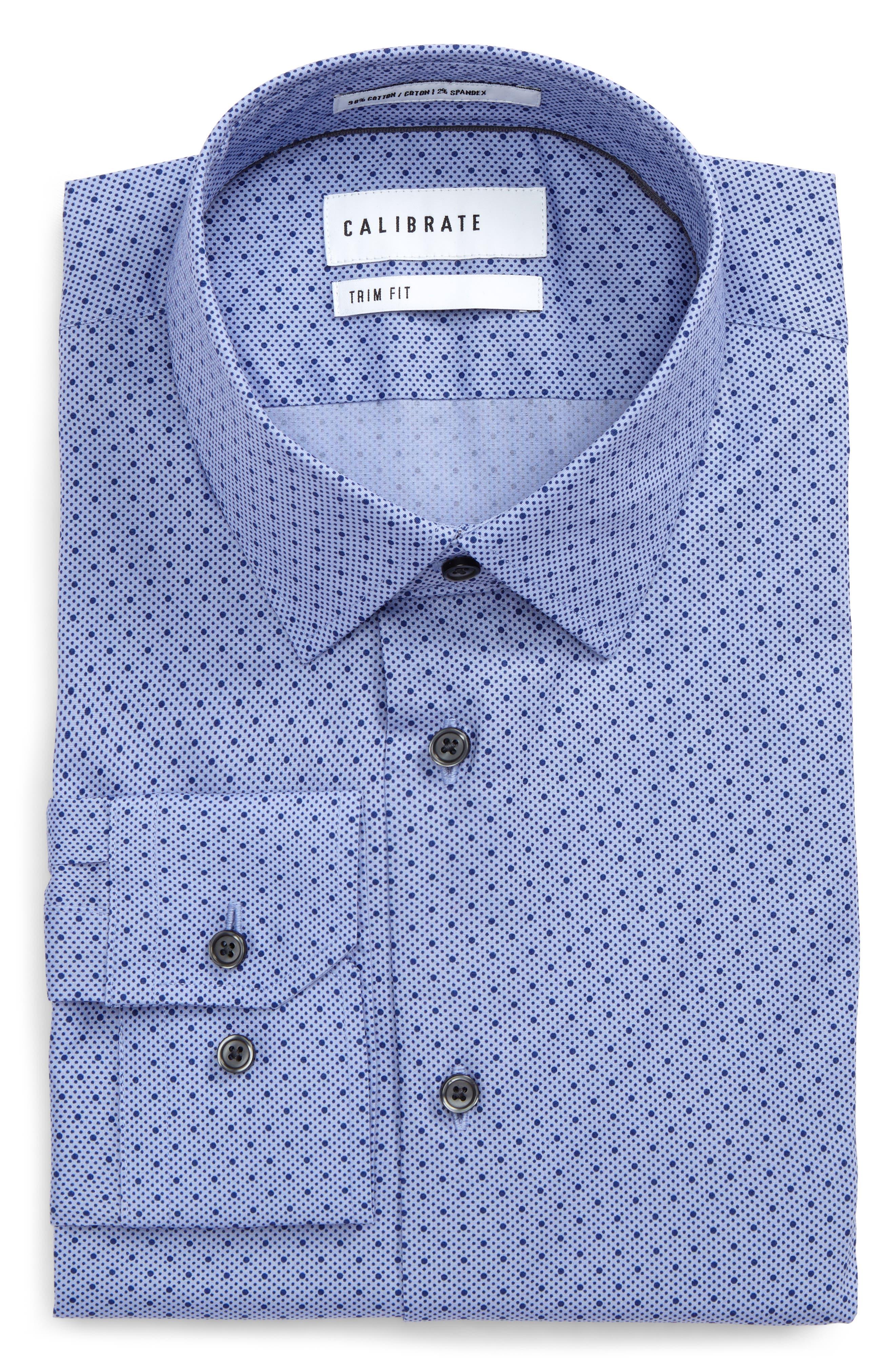 Trim Fit Stretch Dot Dress Shirt,                             Main thumbnail 1, color,                             Blue Clematis