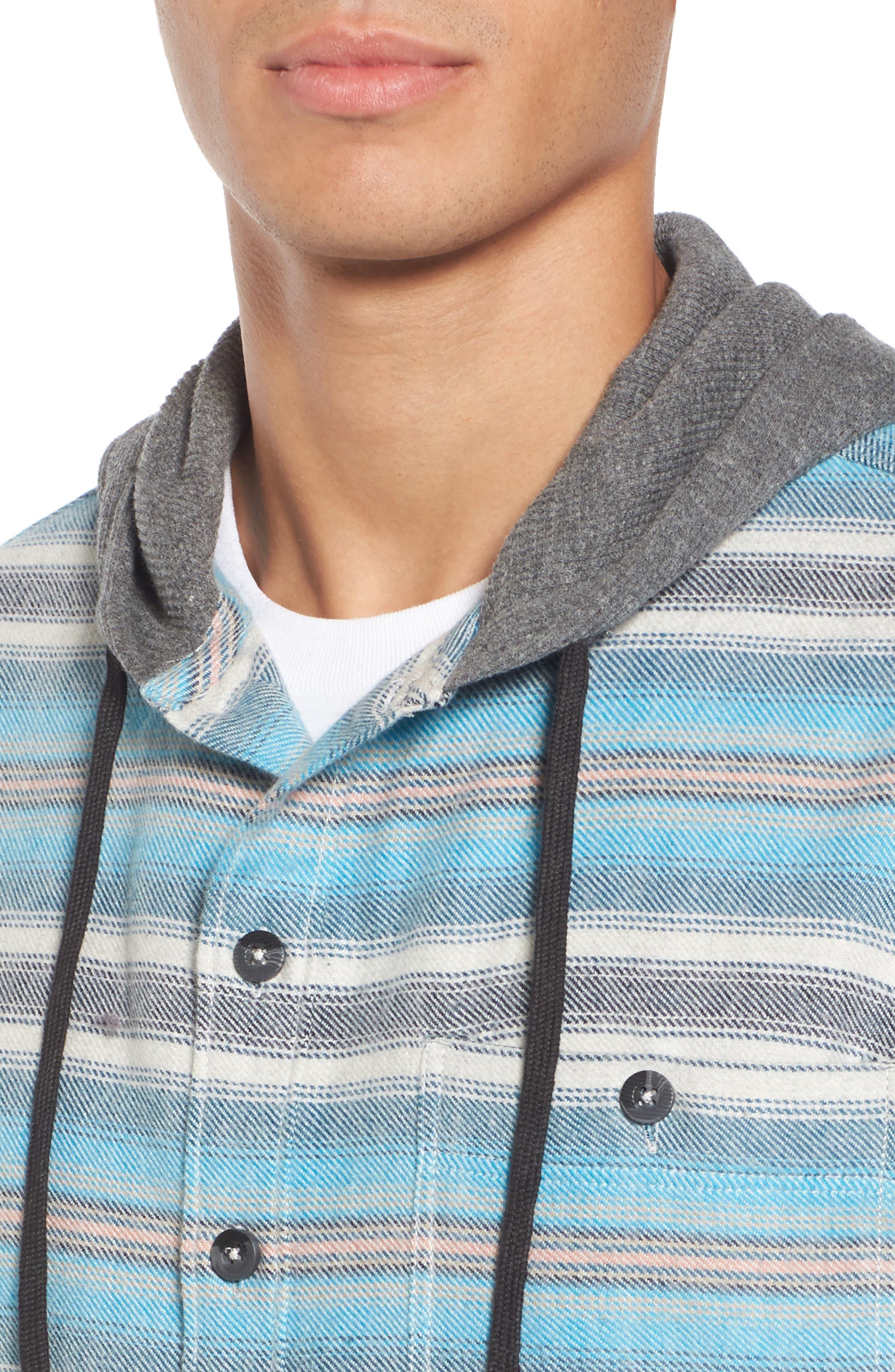 Baja Hooded Flannel Shirt,                             Alternate thumbnail 4, color,                             Stone