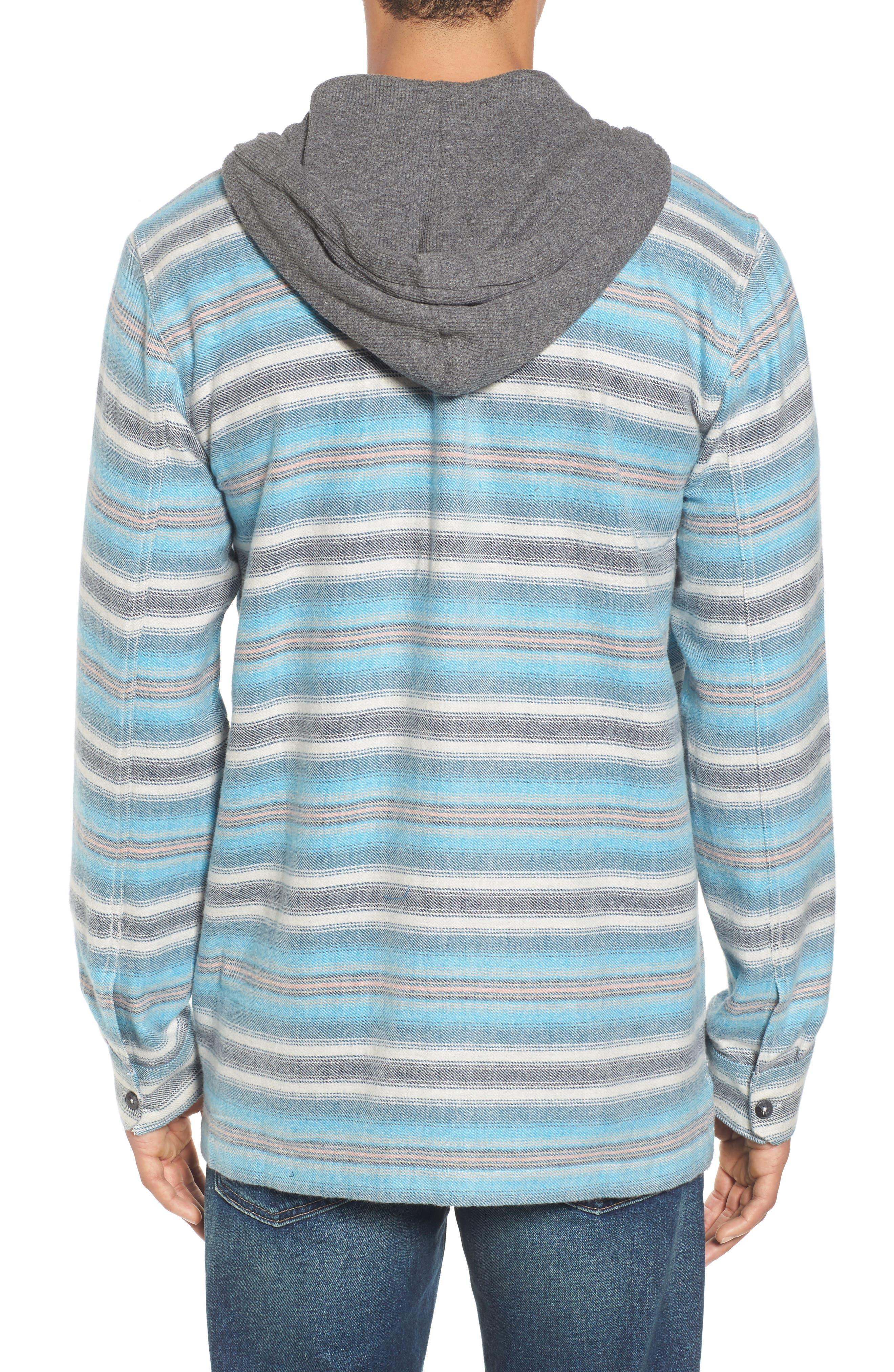 Baja Hooded Flannel Shirt,                             Alternate thumbnail 2, color,                             Stone