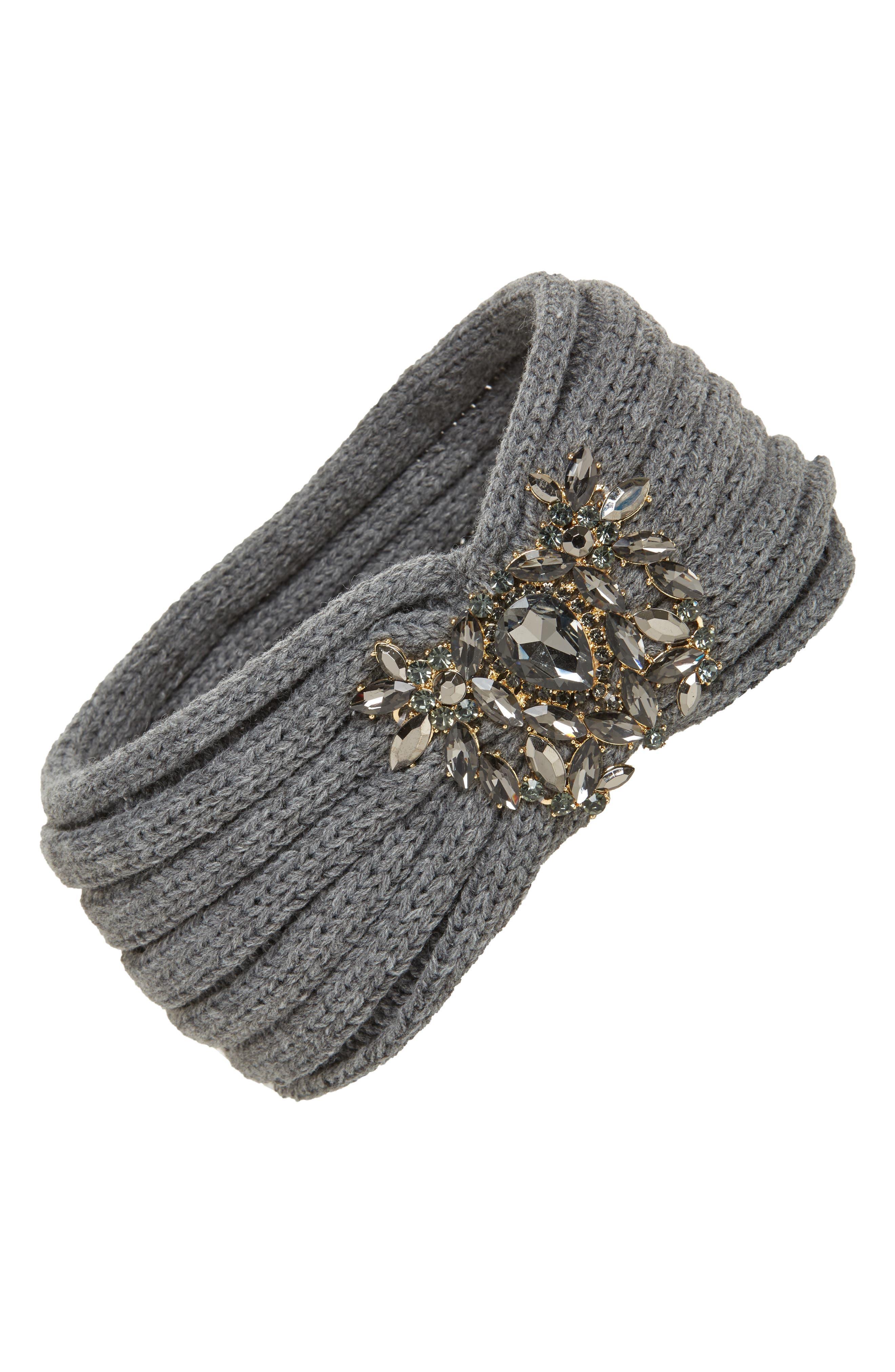 Jeweled Headband,                             Main thumbnail 1, color,                             Grey