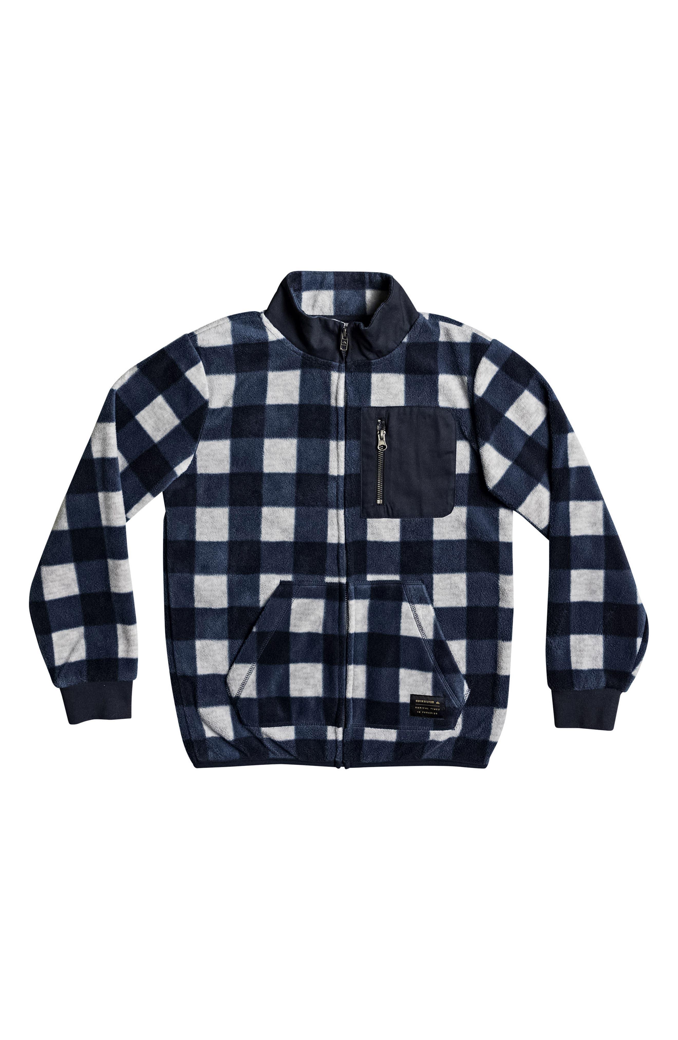 Turbo Speed Buffalo Check Fleece Jacket,                         Main,                         color, Navy Blazer