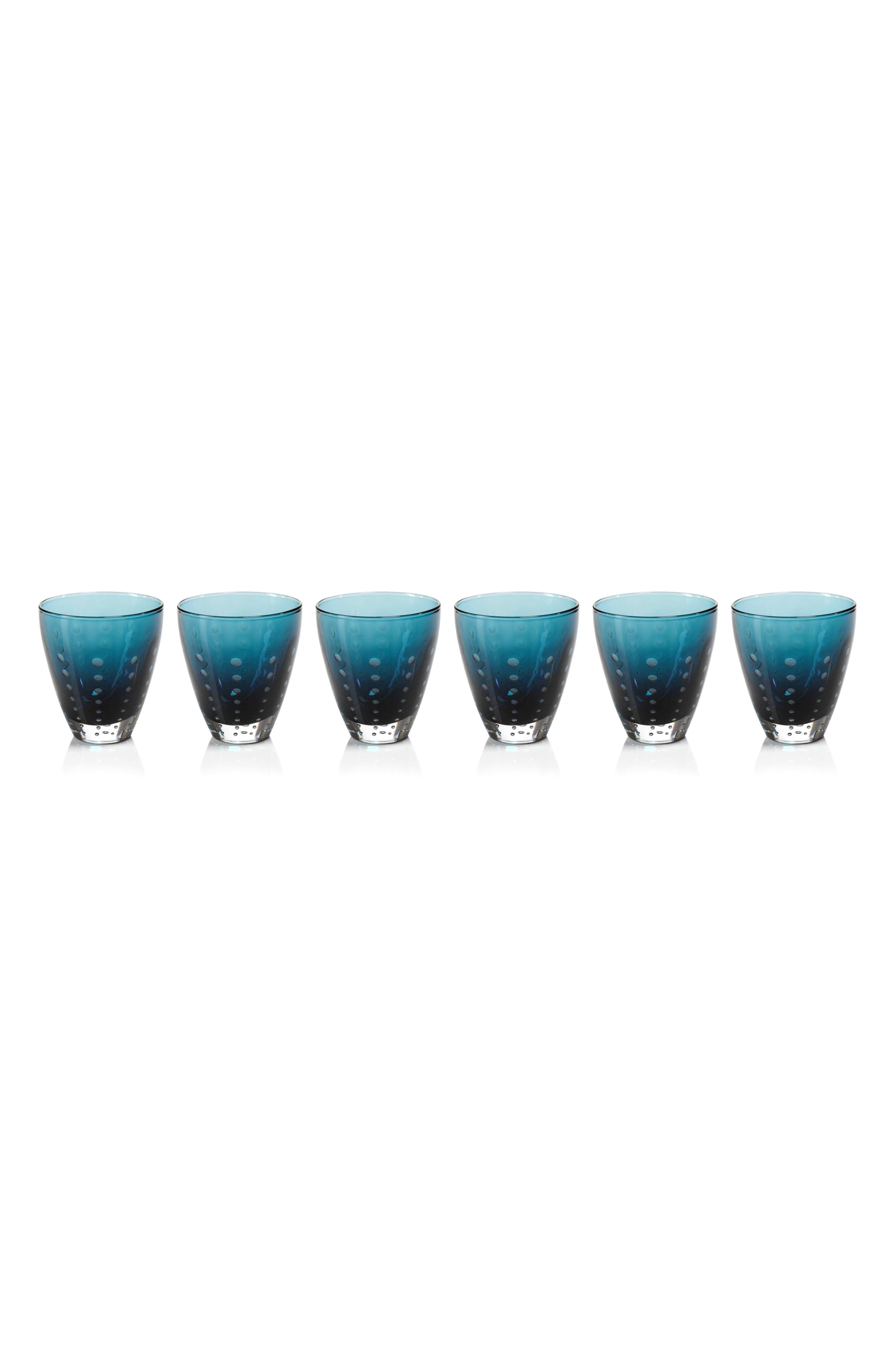 Bubbled Set of 6 Double Old Fashioned Glasses,                         Main,                         color, Blue