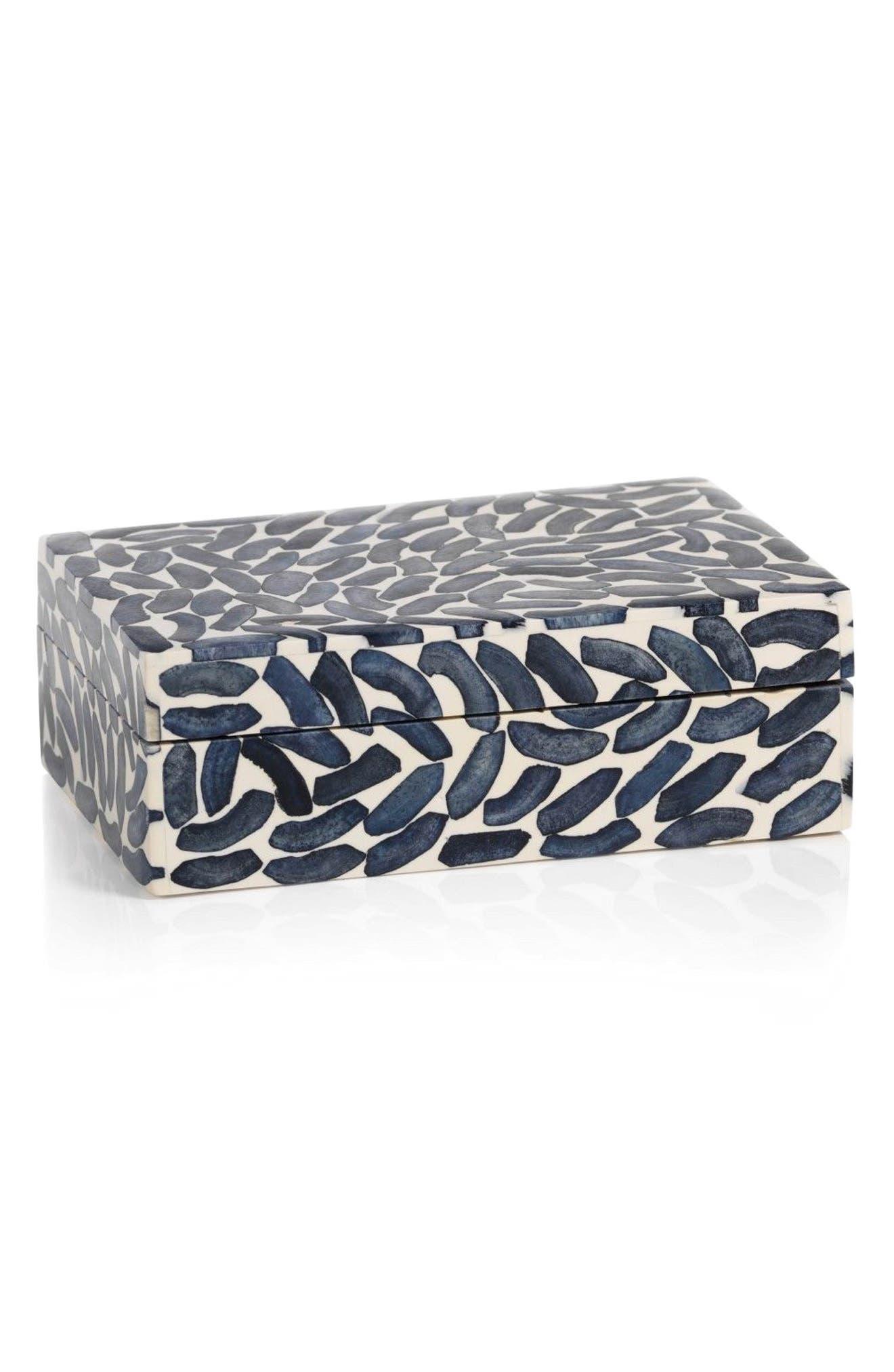Legian Bone Jewelry Box,                             Main thumbnail 1, color,                             Blue/ Ivory