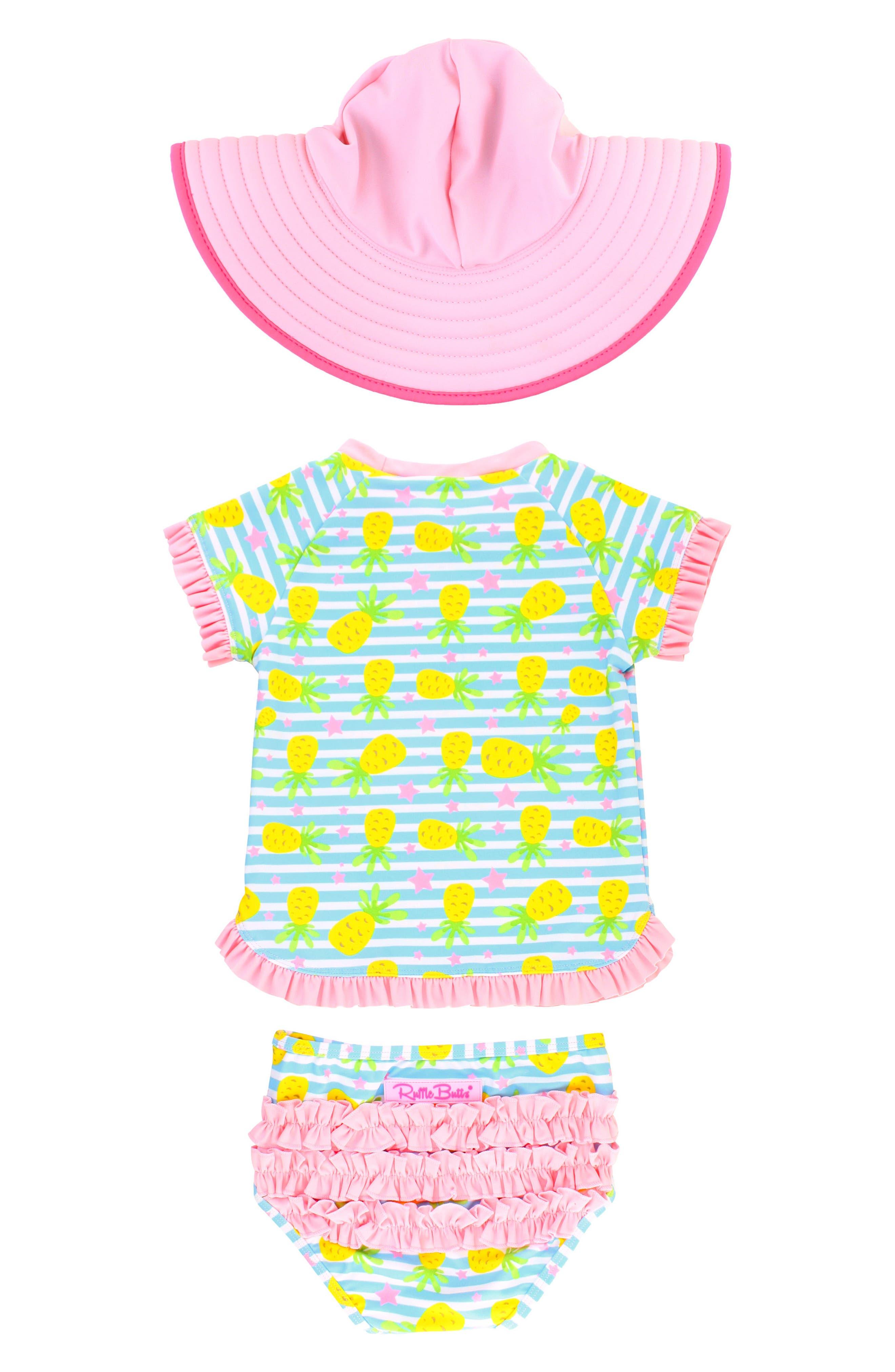 Pineapple Two-Piece Rashguard Swimsuit & Hat Set,                             Alternate thumbnail 2, color,                             Blue