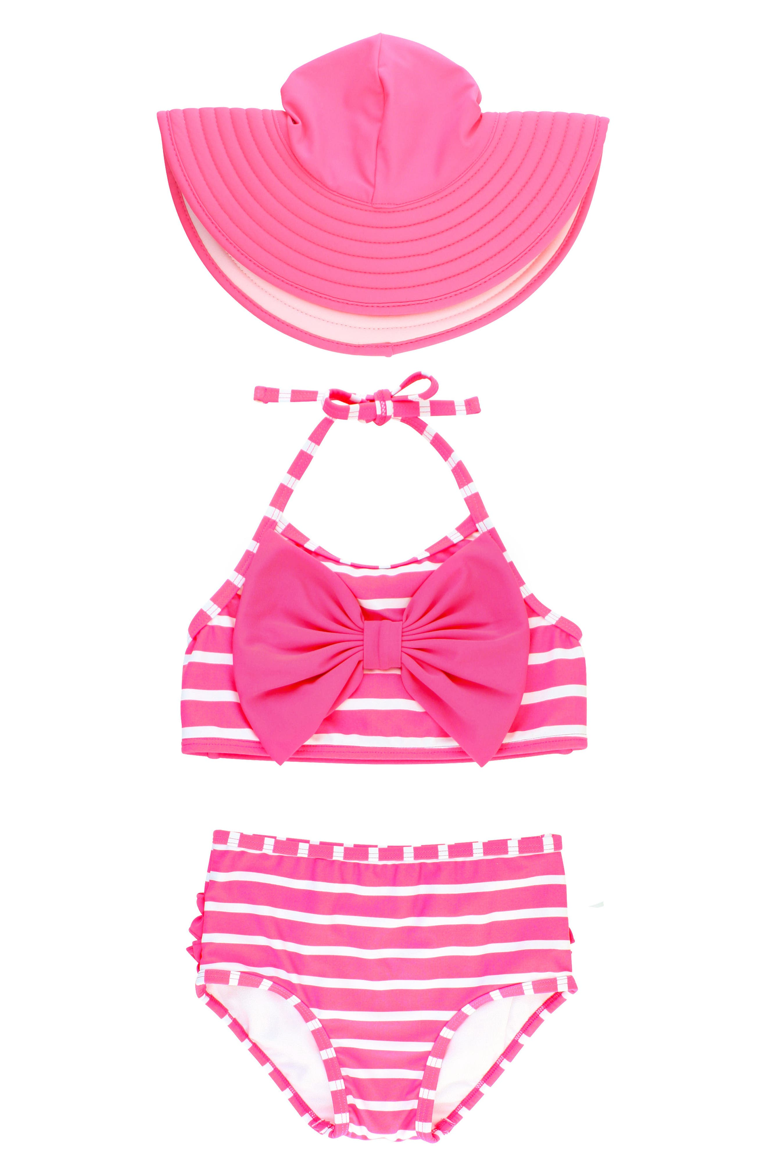 Ruffle Butts Candy Stripe Two-Piece Swimsuit & Sun Hat Set,                         Main,                         color, Pink