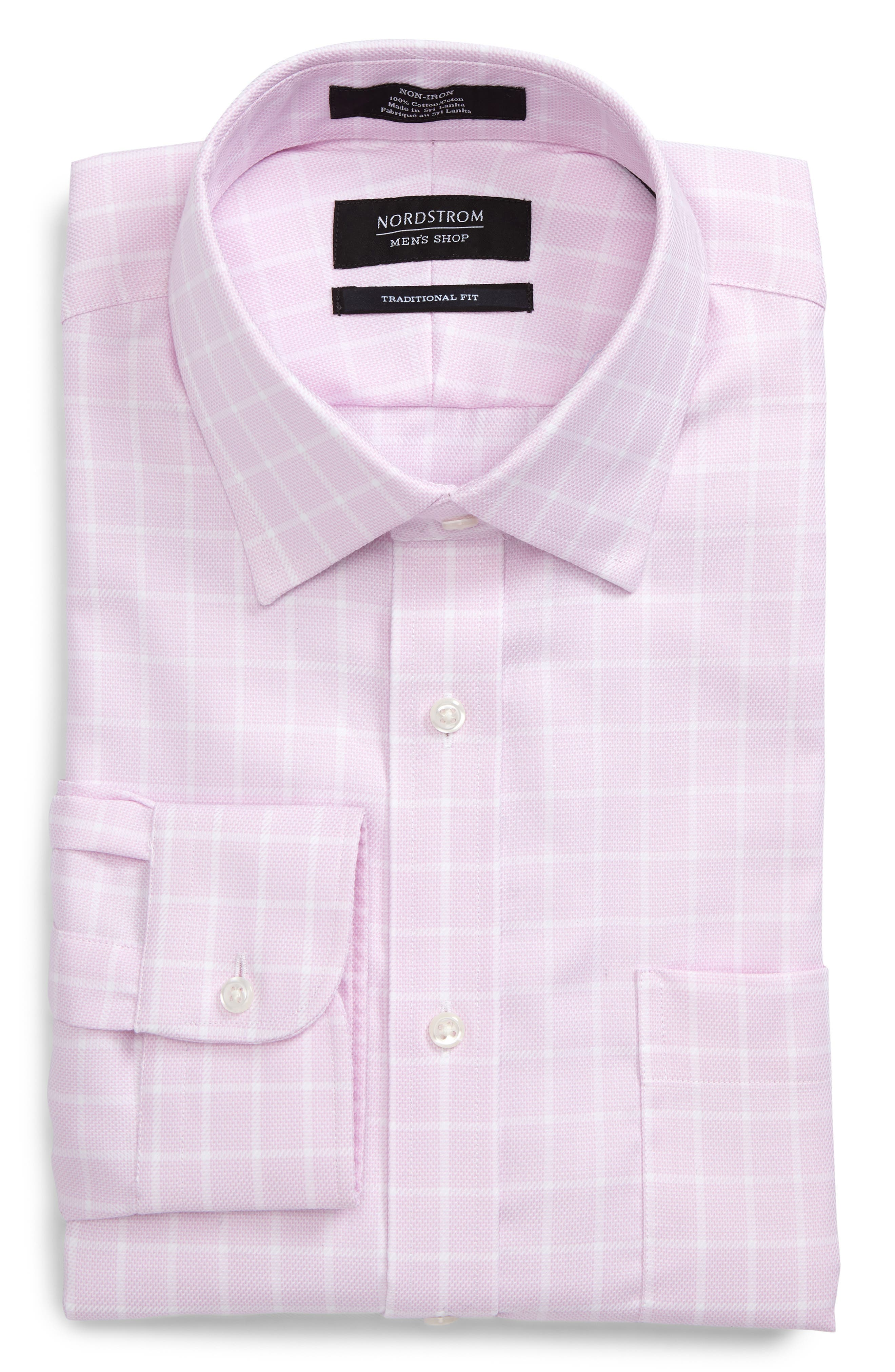 Traditional Fit Non-Iron Check Dress Shirt,                             Alternate thumbnail 6, color,                             Pink Lavender