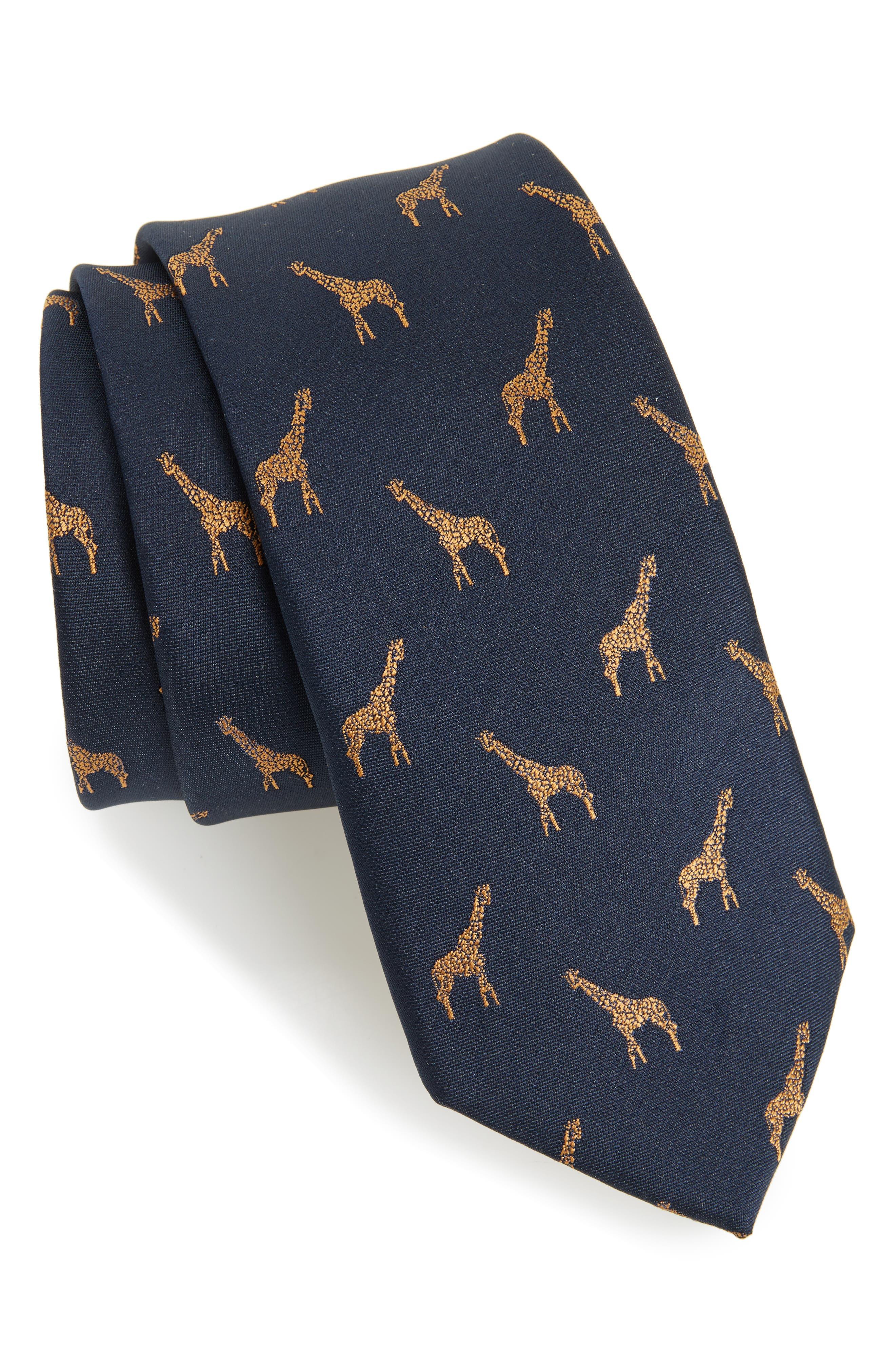 Topman Giraffe Print Woven Tie