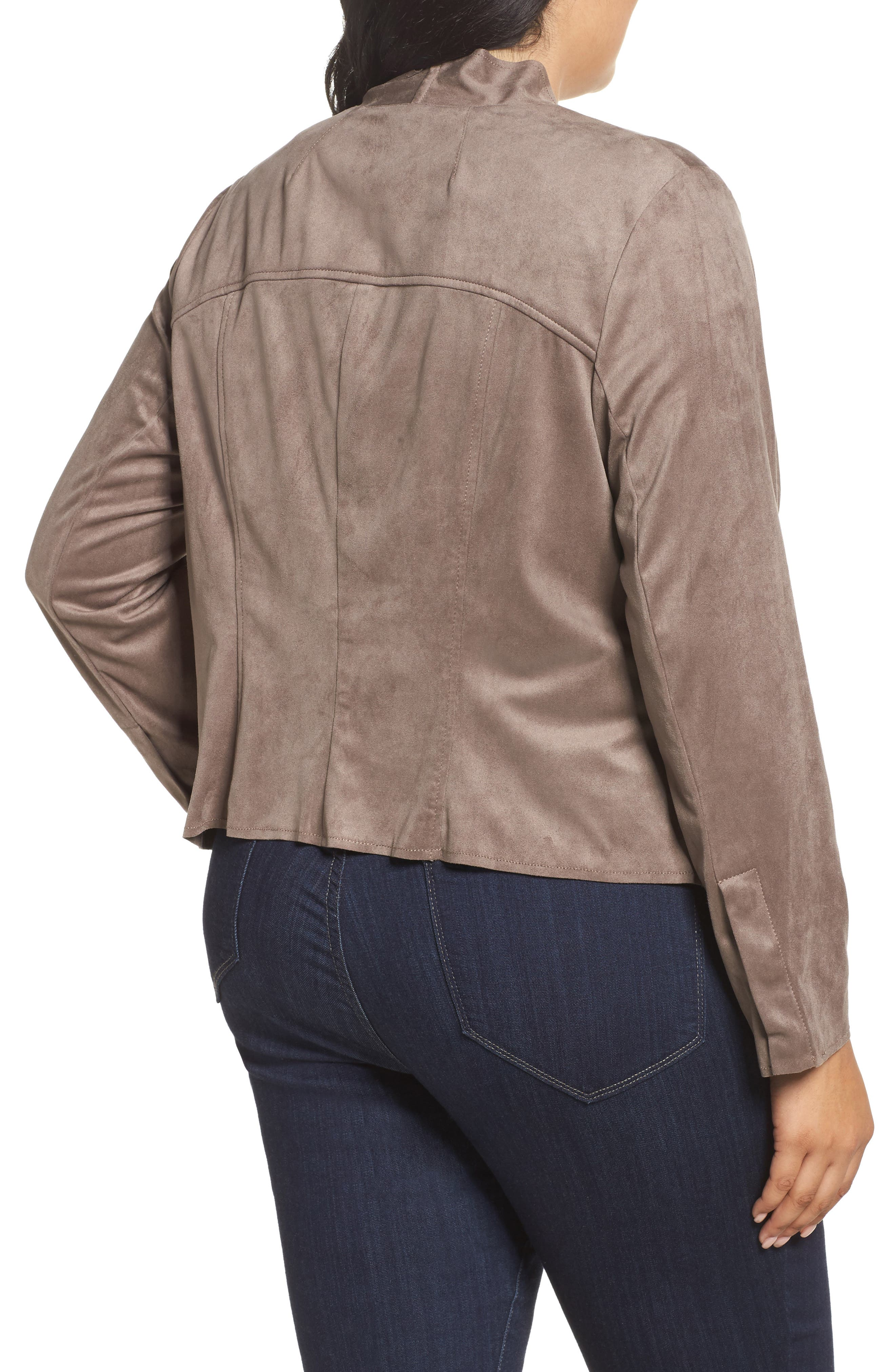 Alternate Image 2  - KUT from the Kloth Drape Front Faux Suede Jacket (Plus Size)