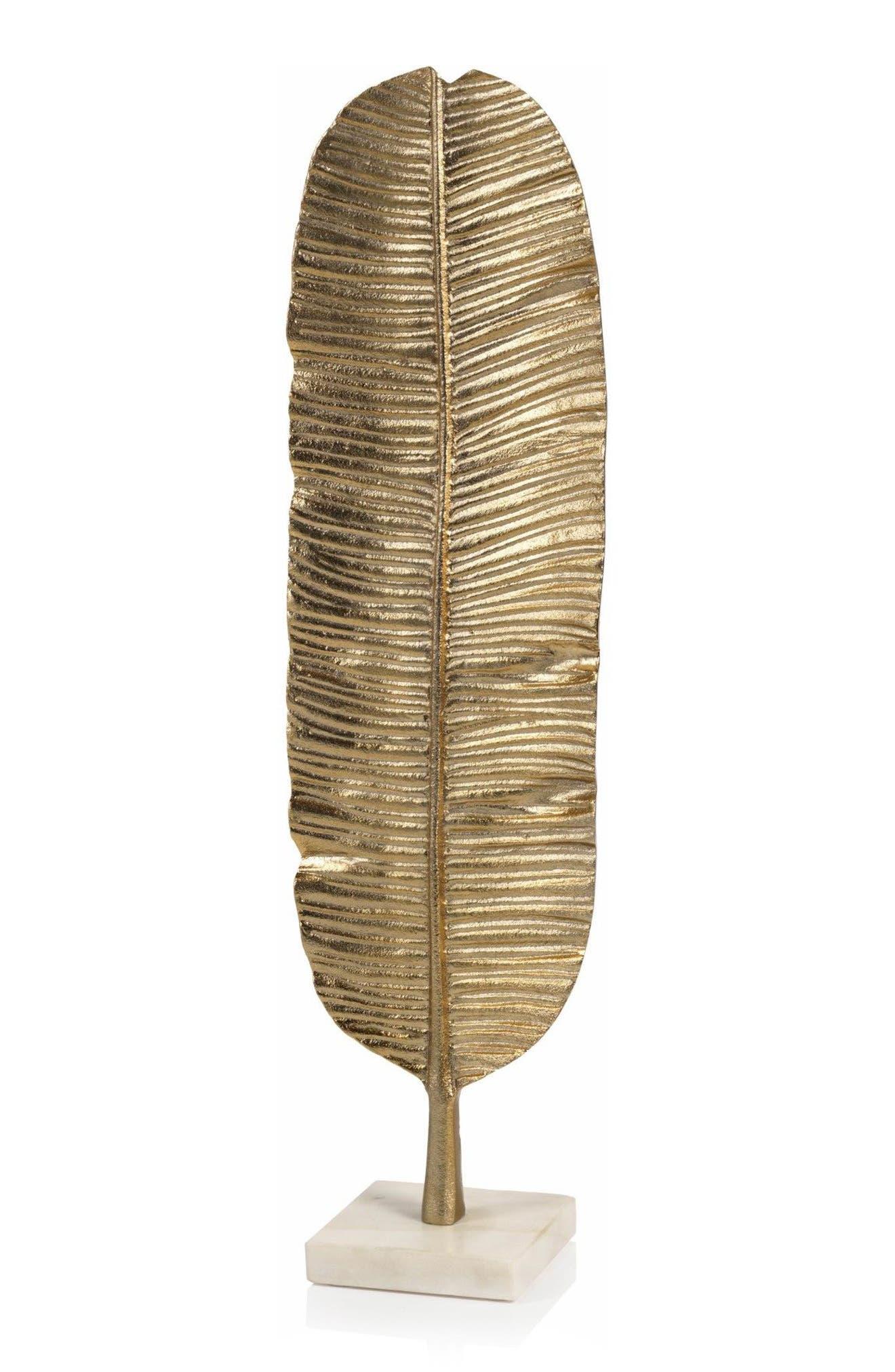 Metal Banana Leaf Sculpture on Marble Base,                             Main thumbnail 1, color,                             Gold