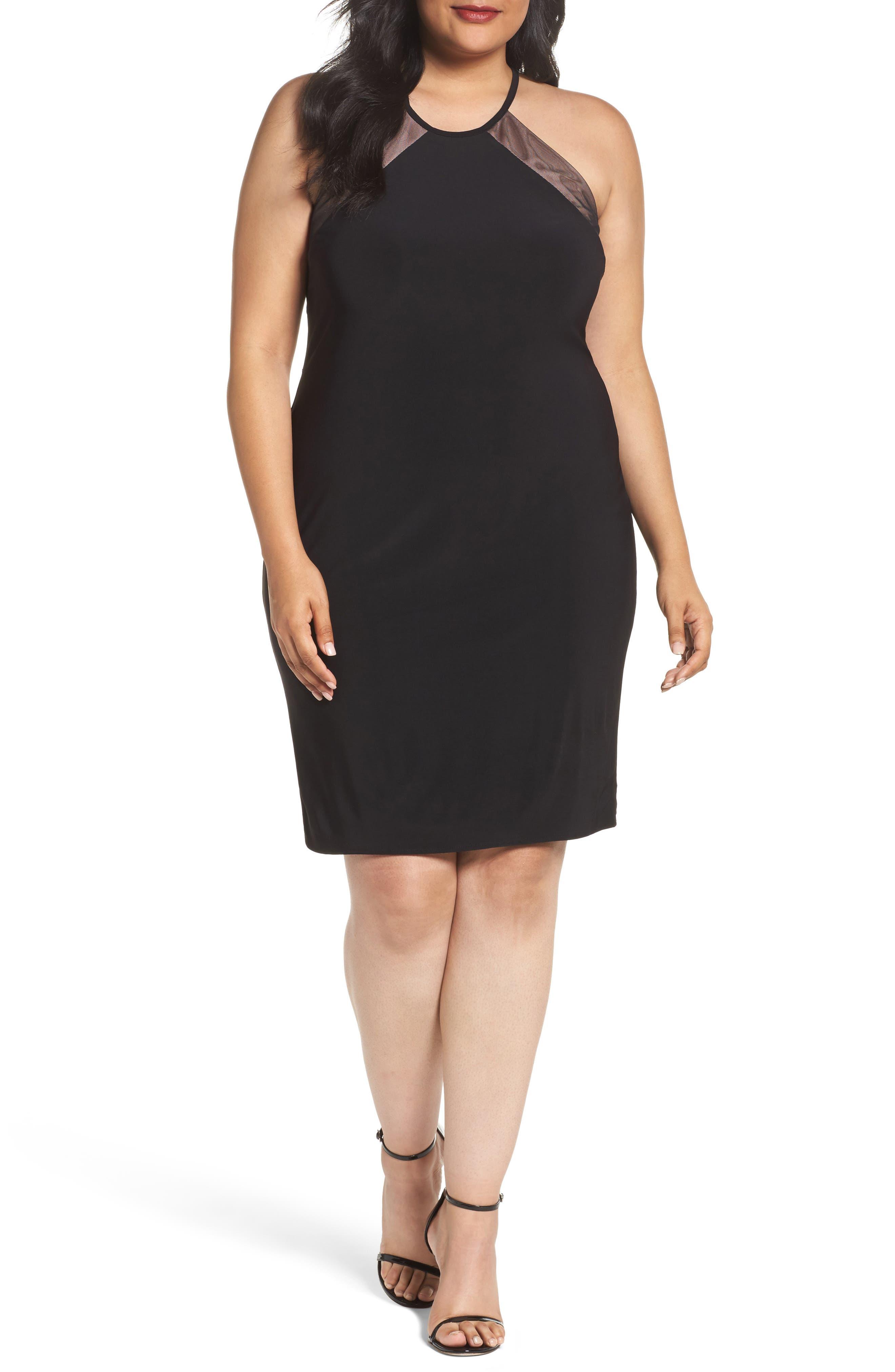 Mesh Inset Sheath Dress,                         Main,                         color, Black/ Nude