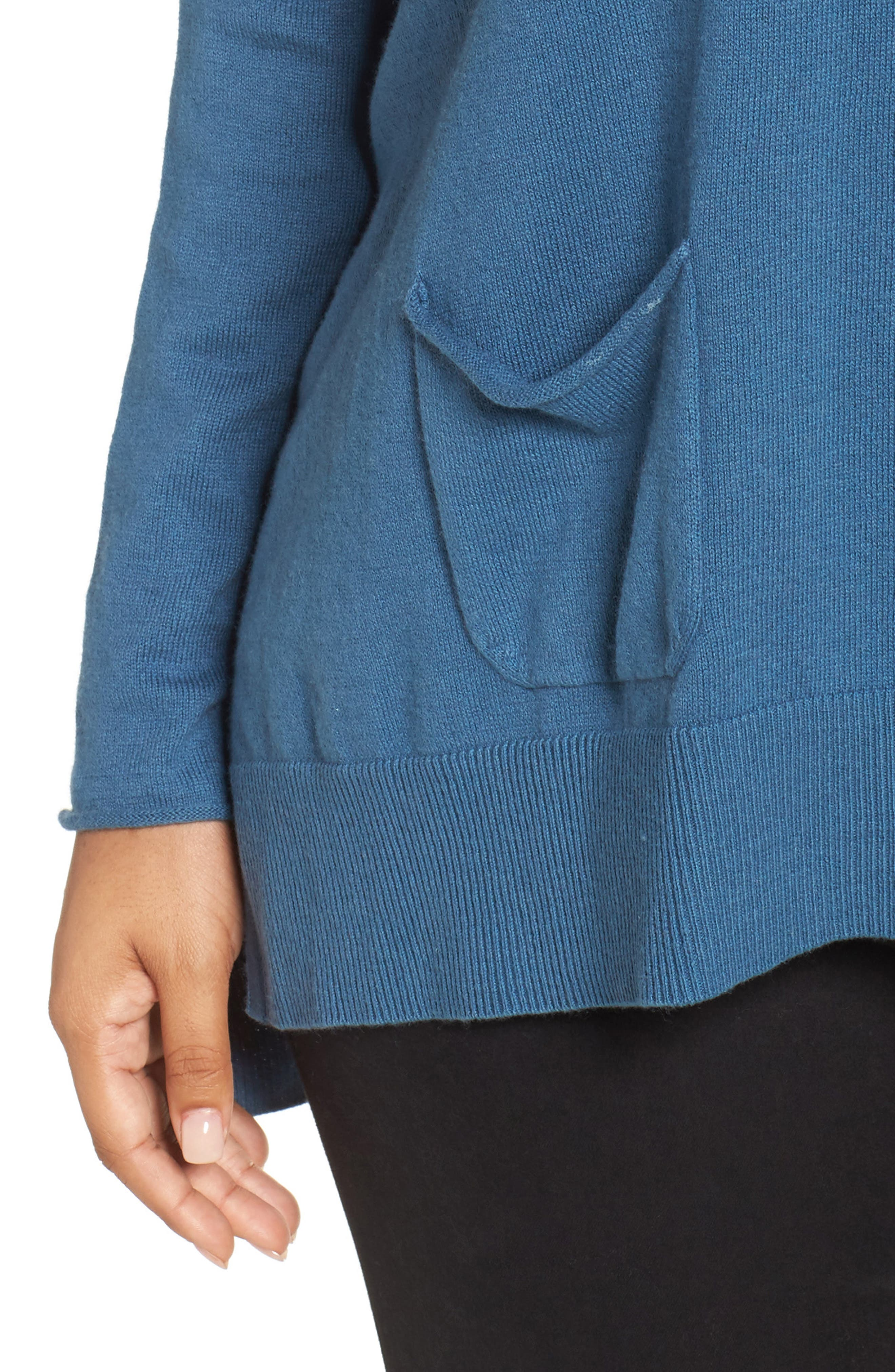 Relaxed Cotton & Cashmere Sweater,                             Alternate thumbnail 4, color,                             Teal Sound
