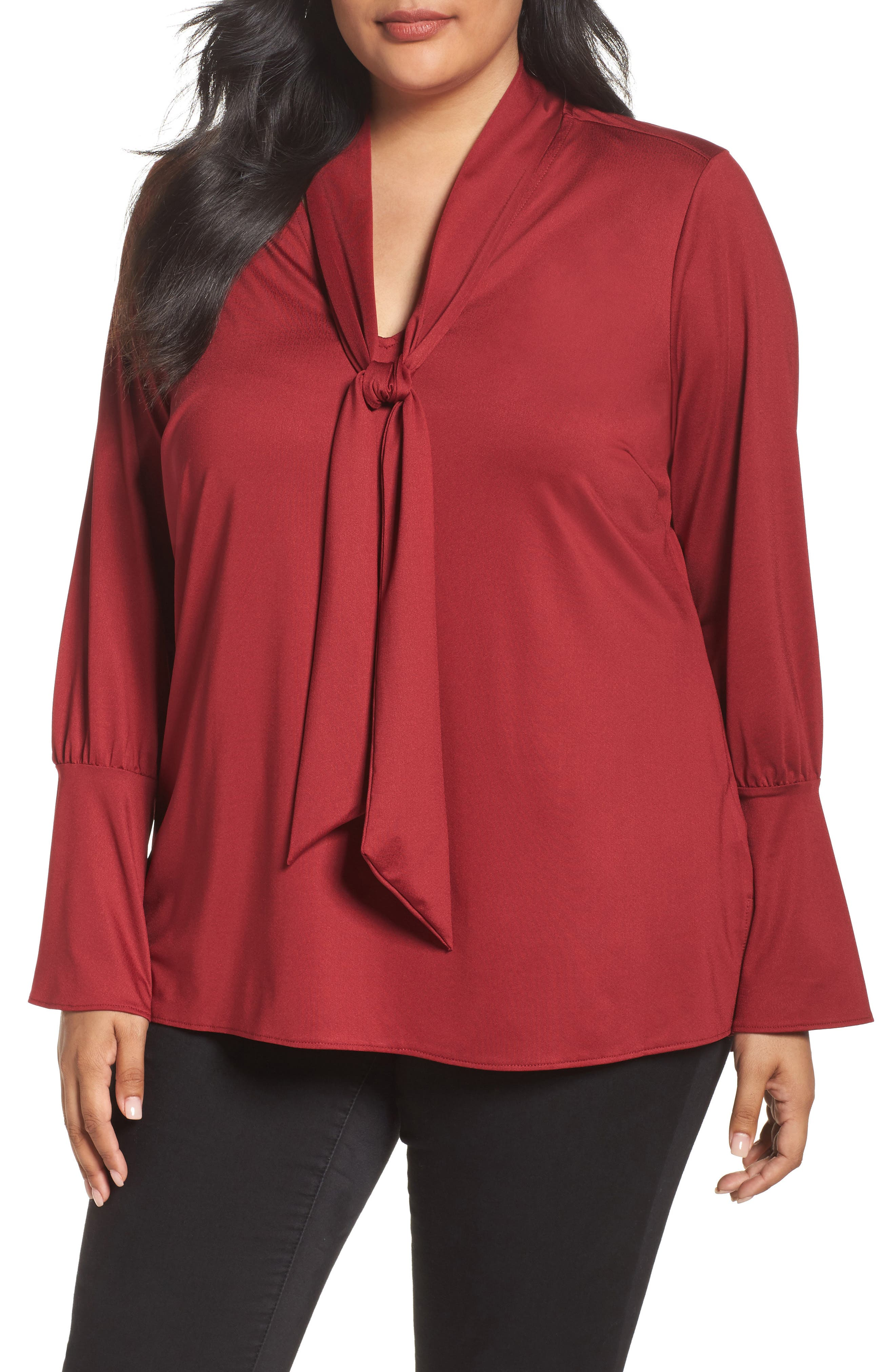 Alternate Image 1 Selected - Melissa McCarthy Seven7 Tie Neck Top (Plus Size)